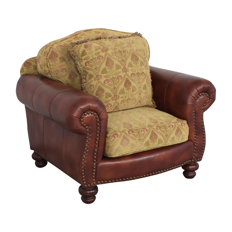 Distinctions Furniture Distinctions Furniture Nailhead Club Chair with Cushions brown & gold