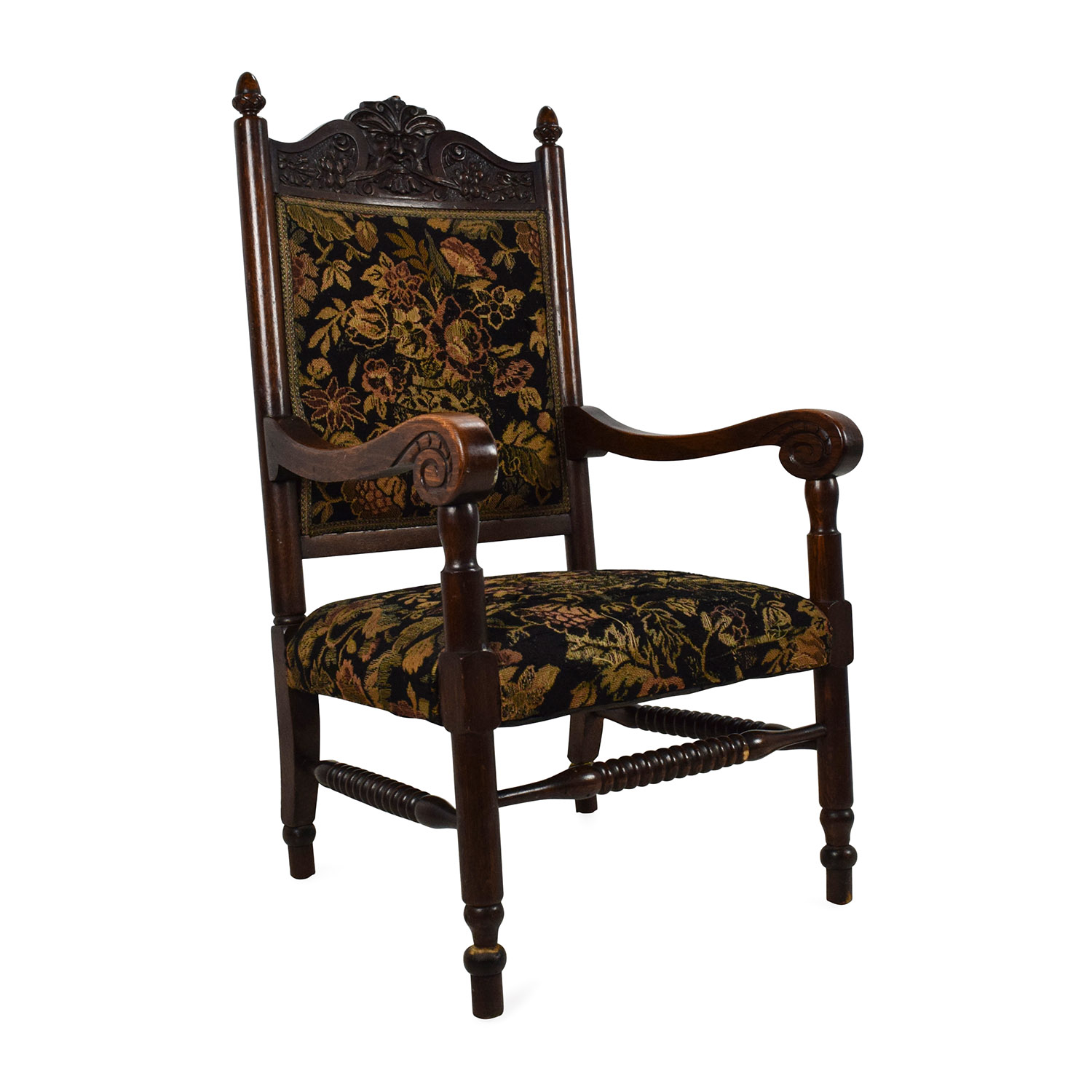 84% OFF - Antique Tudor Upholstered Chair / Chairs