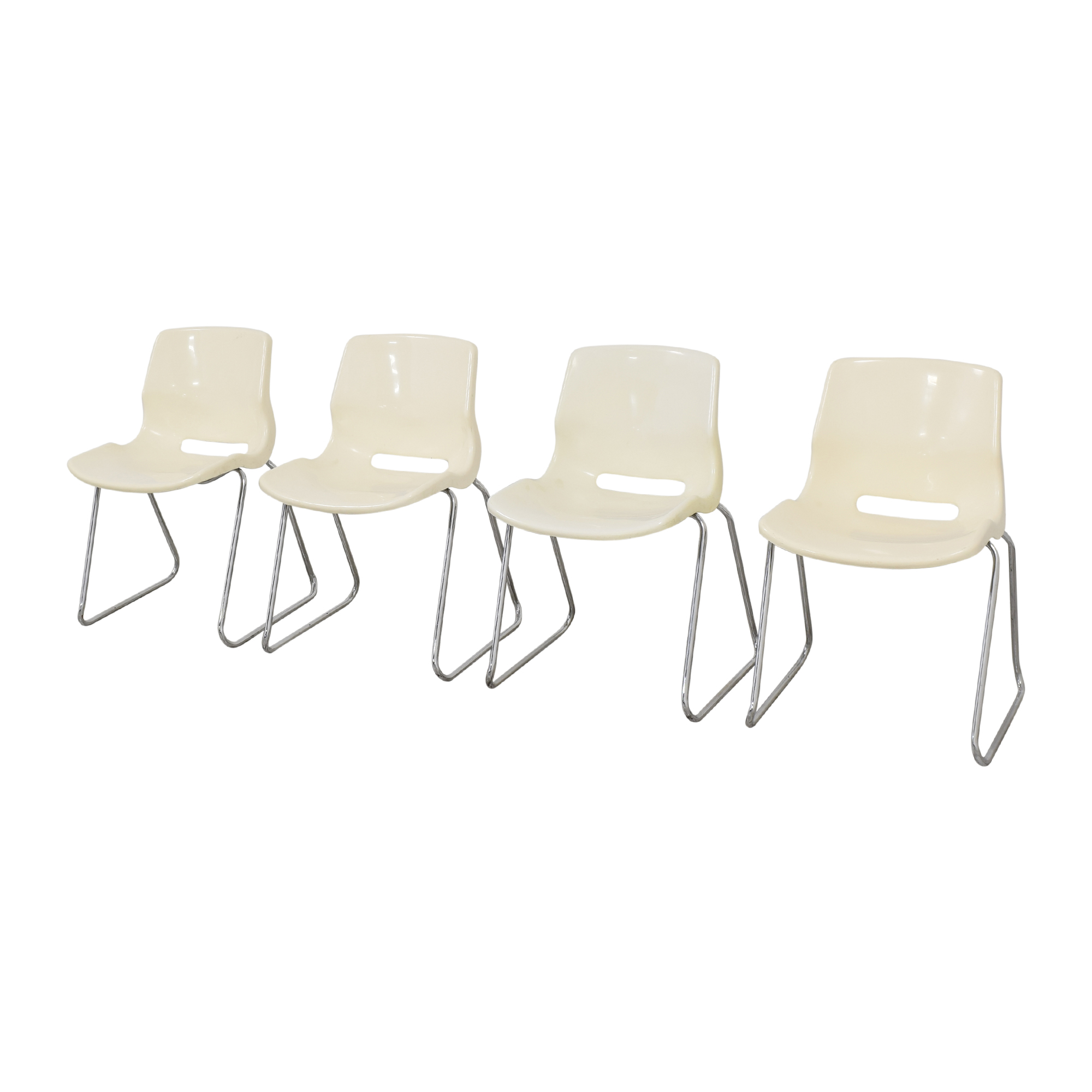 Overman Overman by Svante Schoblom Swedish Stacking Dining Chairs off white & silver
