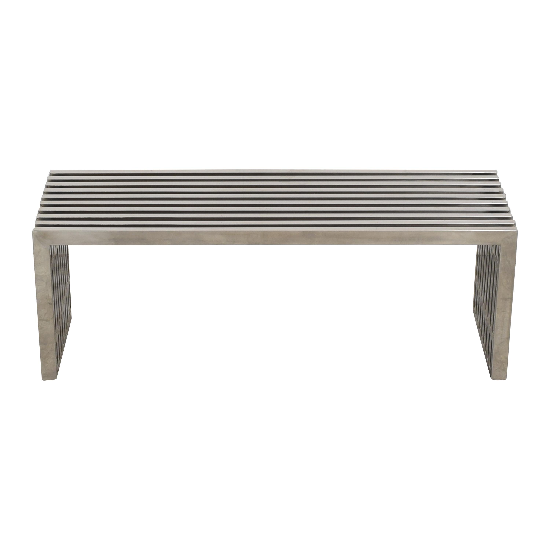 buy Lexmod Gridiron Medium Stainless Steel Bench LexMod Chairs