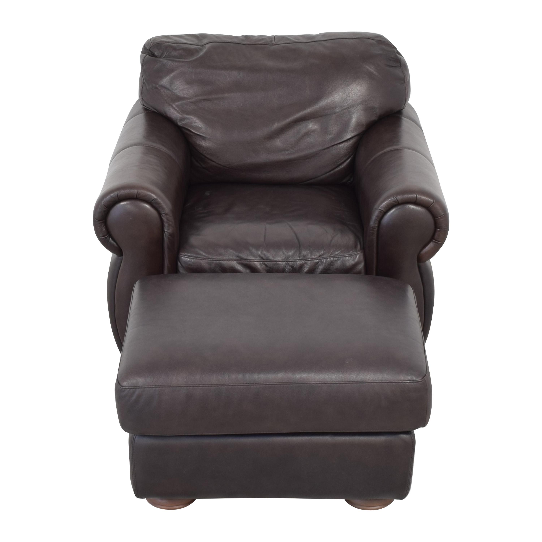 Raymour & Flanigan Marsala Chair with Ottoman sale