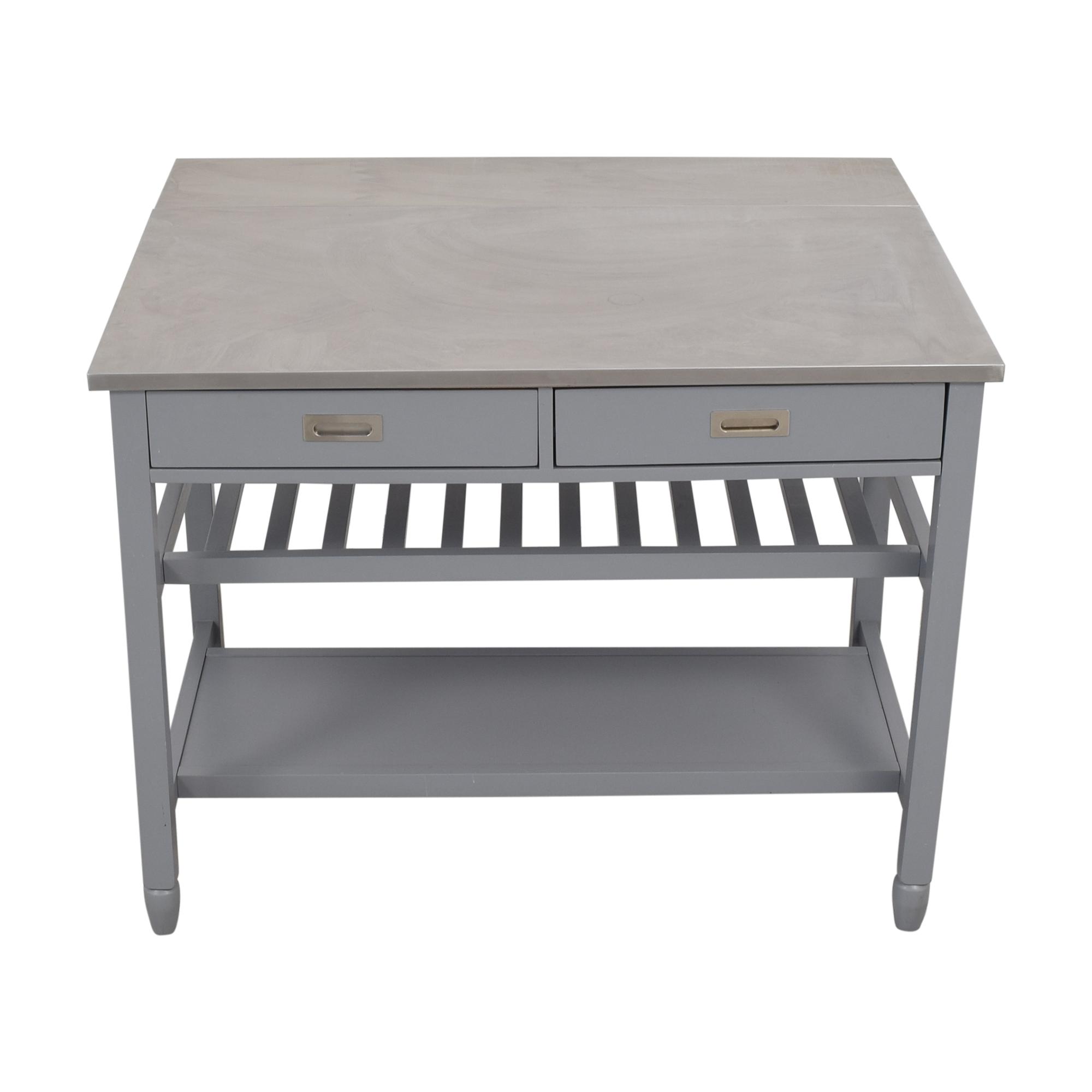 Crate & Barrel Crate & Barrel Belmont Open Kitchen Island grey
