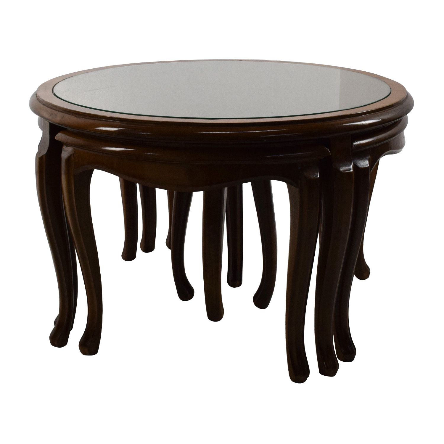 69% OFF Round Glass Top Coffee Table with 4 Nesting Stools Tables
