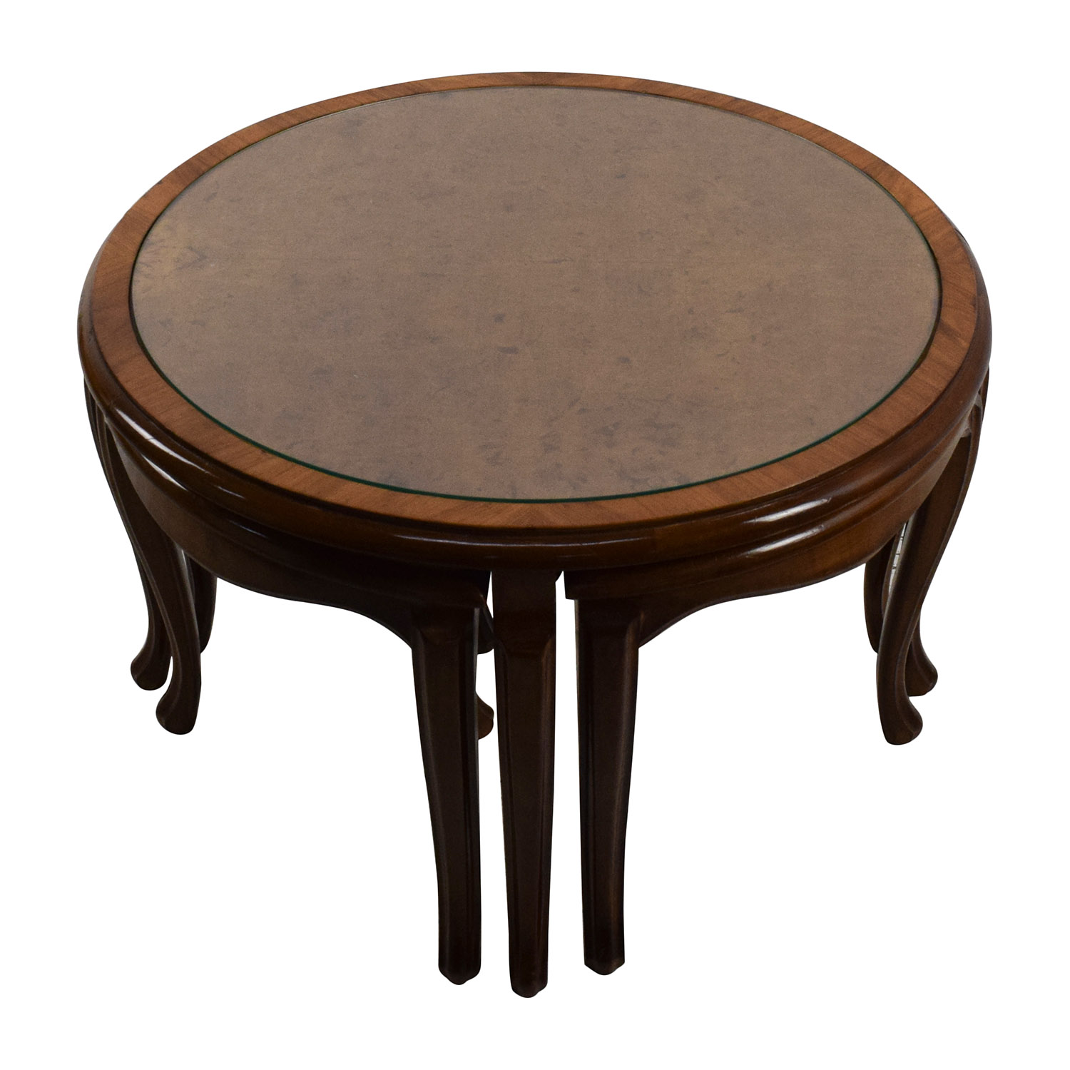 ... Round Glass Top Coffee Table With 4 Nesting Stools Tables ...