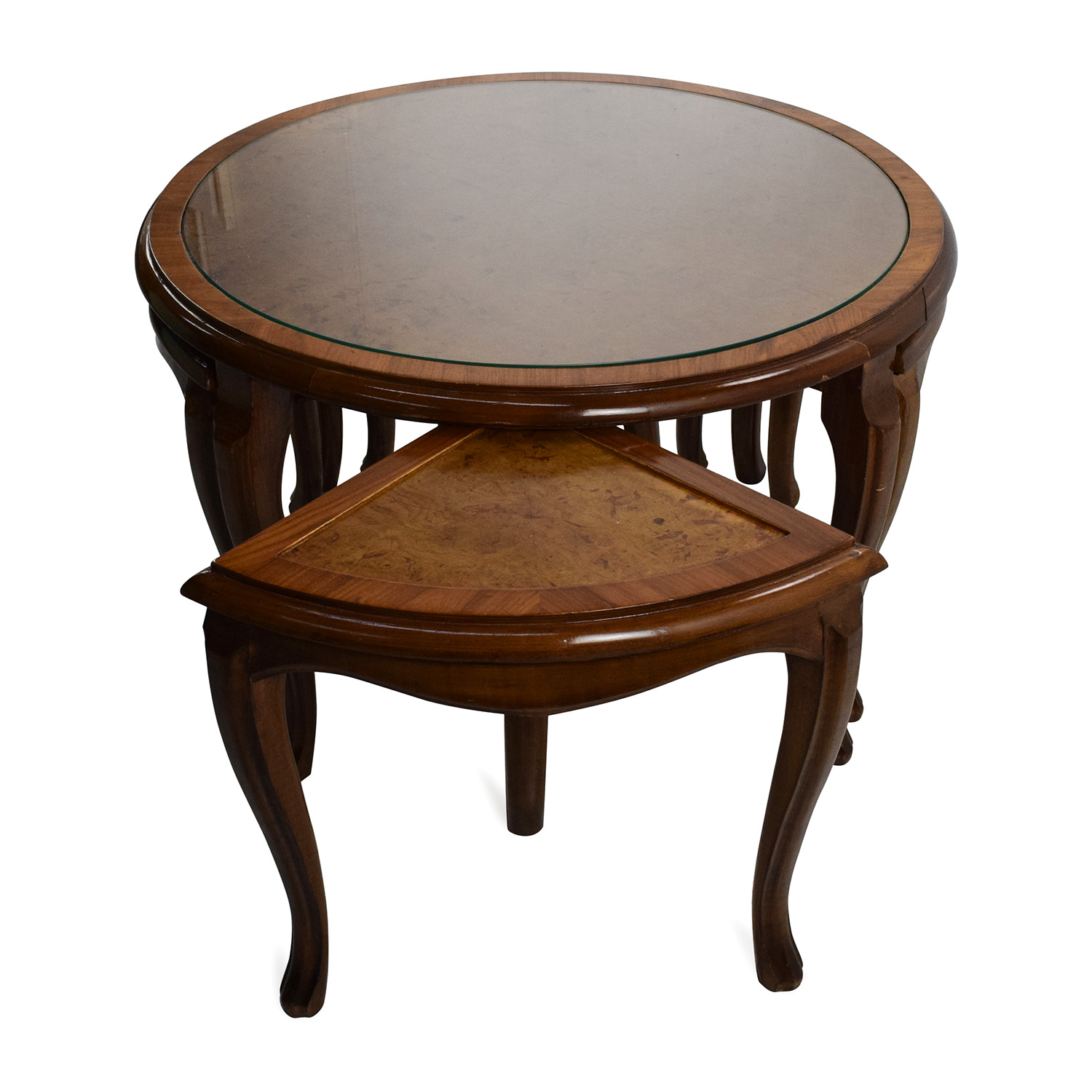 buy Round Glass Top Coffee Table with 4 Nesting Stools Coffee Tables