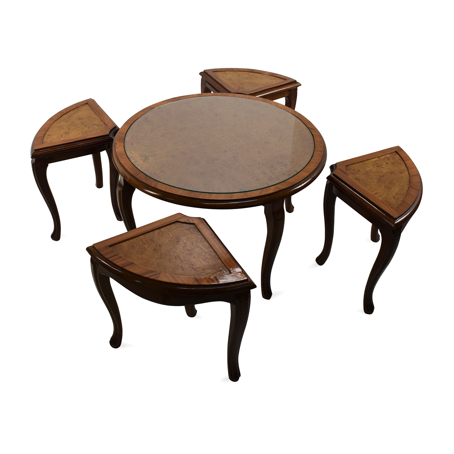 Round Glass Top Coffee Table with 4 Nesting Stools Brown