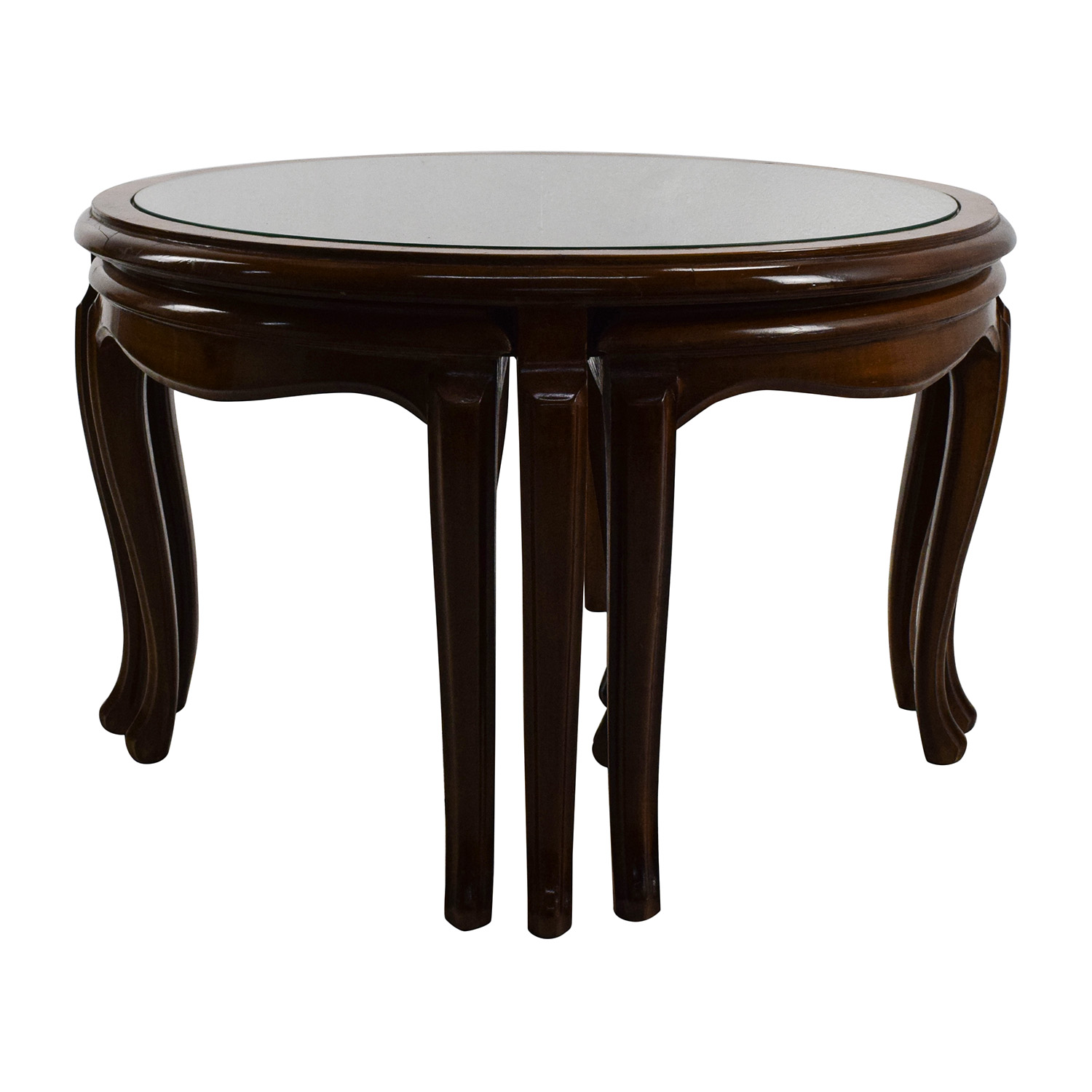 Round Glass Top Coffee Table With 4 Nesting Stools Sale