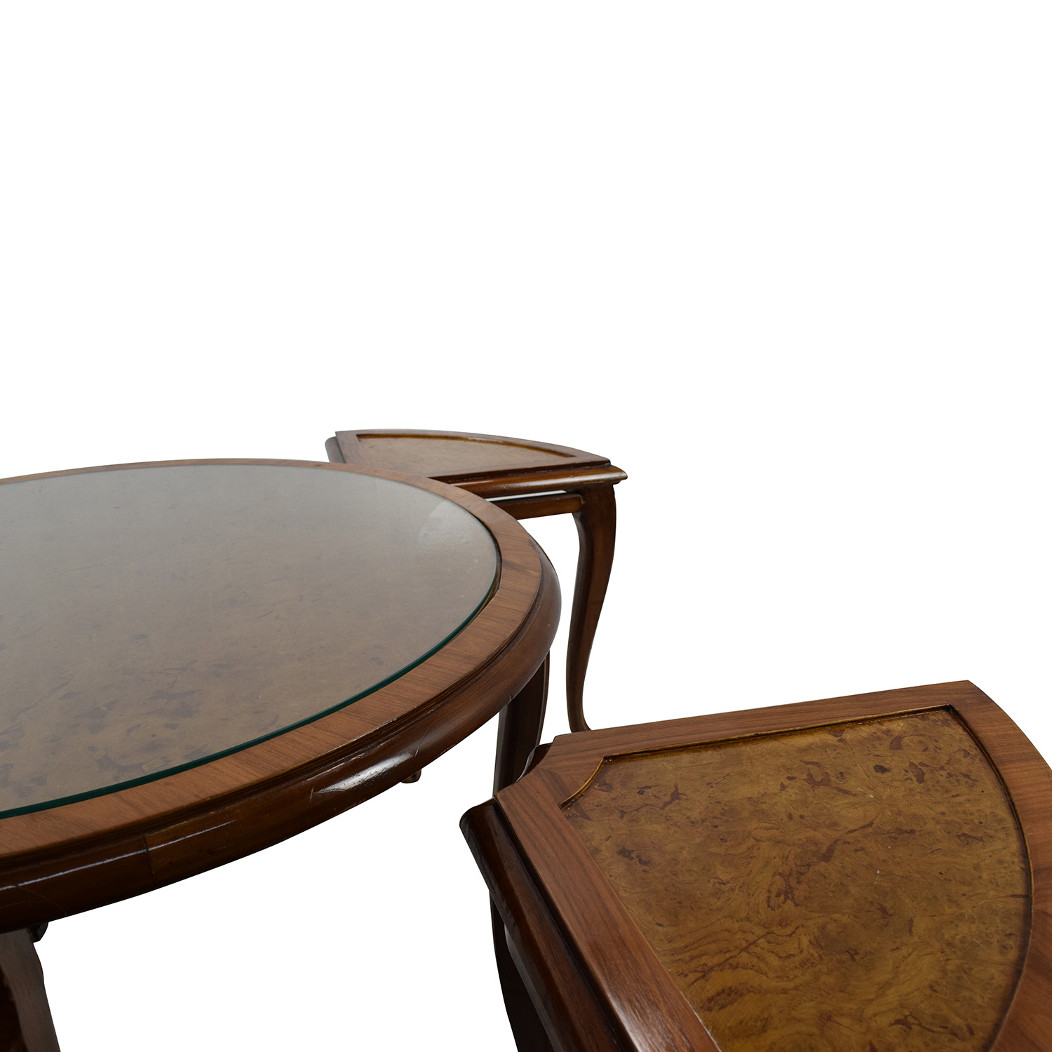 Round Glass Top Coffee Table with 4 Nesting Stools