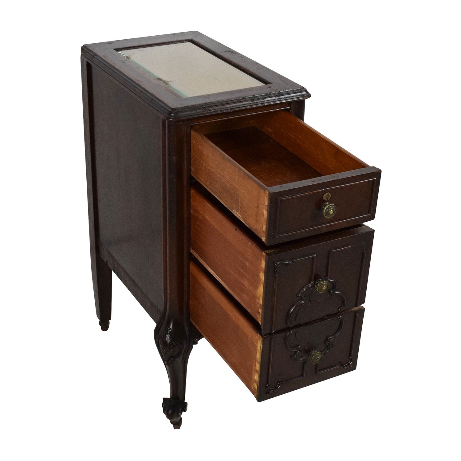 ... Antique Dark Wooden End Table Dimensions ...