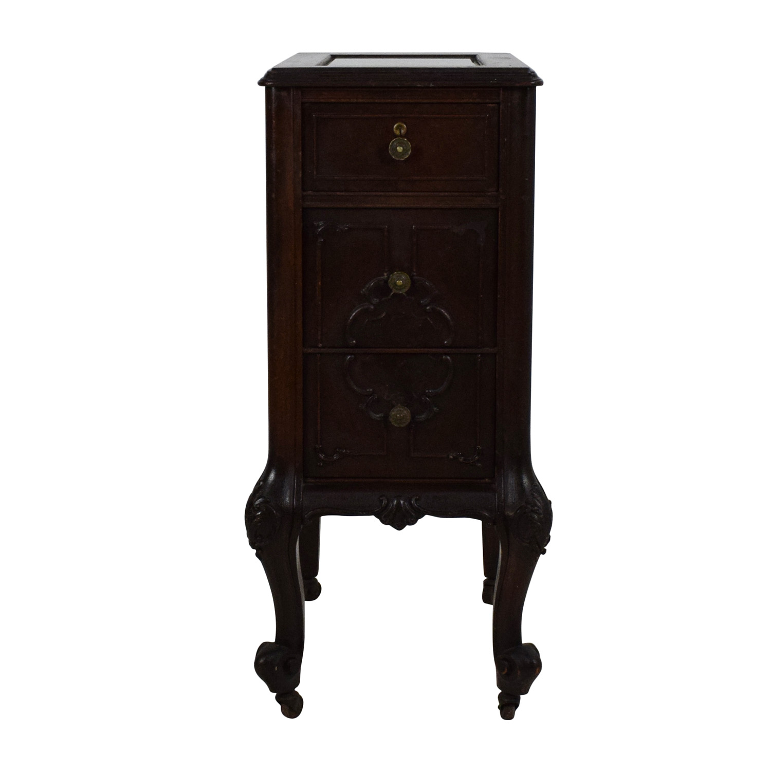 Antique Dark Wooden End Table