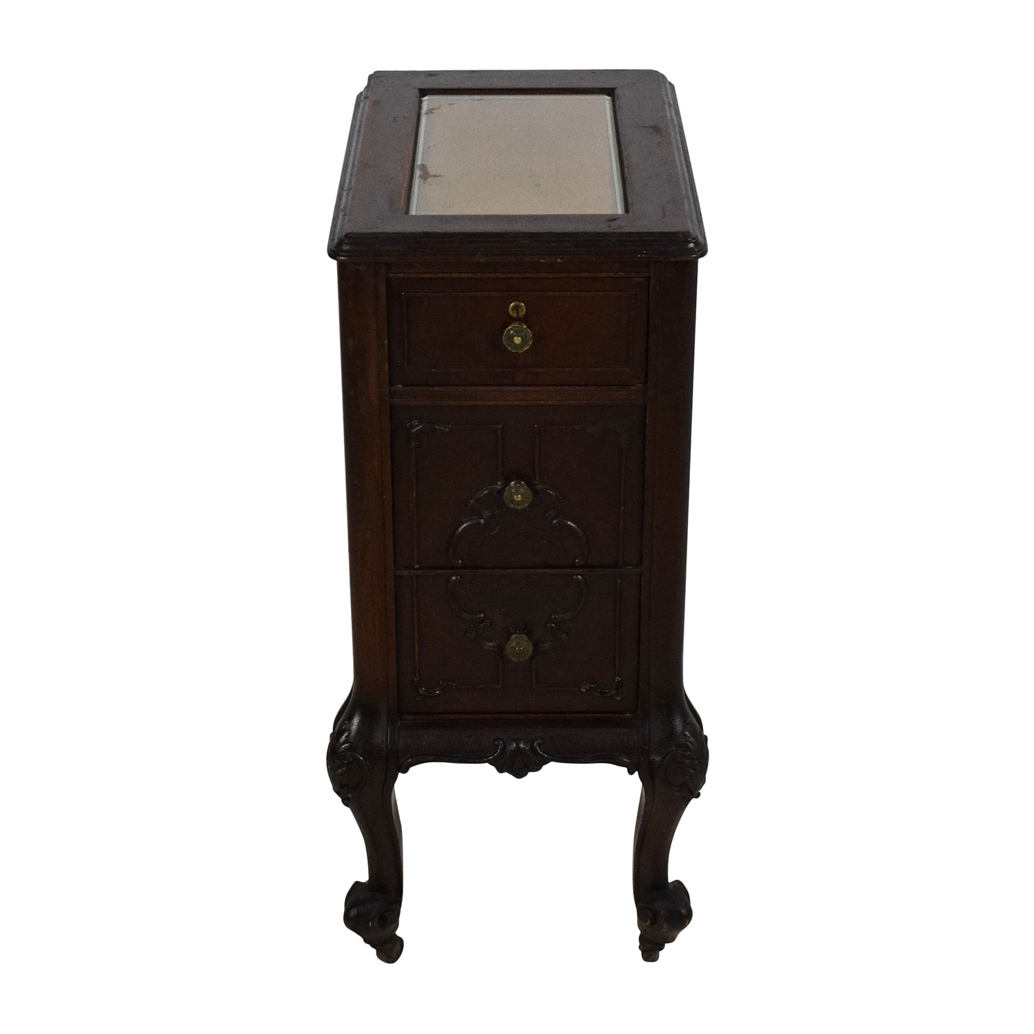 Antique Dark Wooden End Table discount