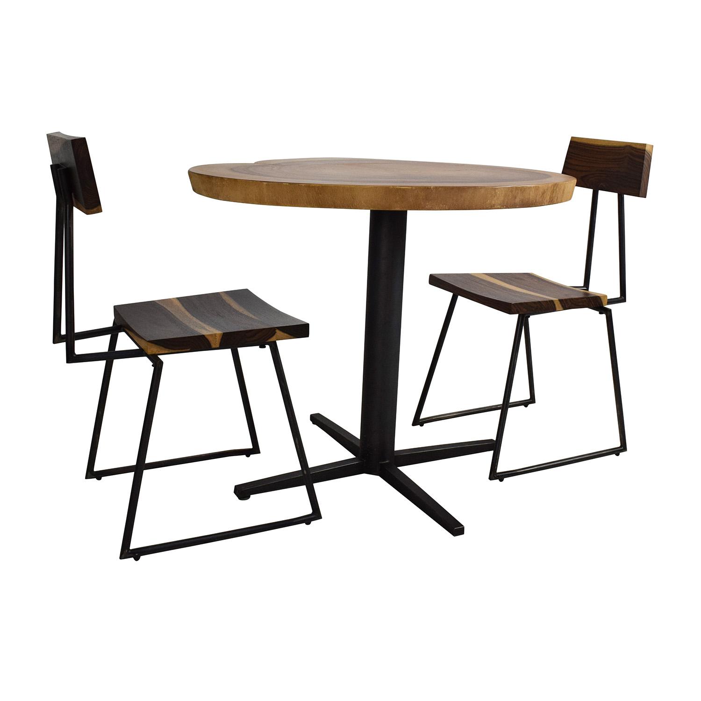 Rustic Slab Wood Coffee Table Bench: Rustic Wood Slab Table Set / Tables