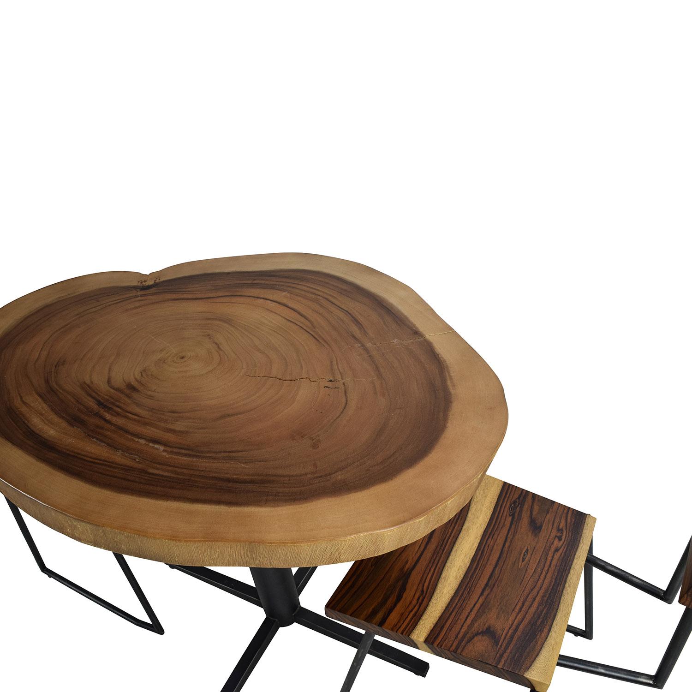 Rustic Wood Slab Table Set nyc