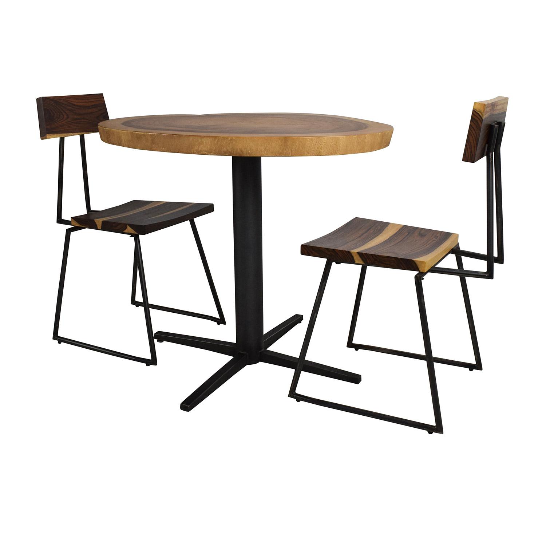 Rustic Wood Slab Table Set
