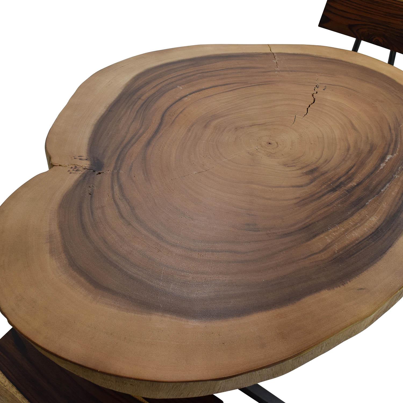 buy Rustic Wood Slab Table Set  Tables