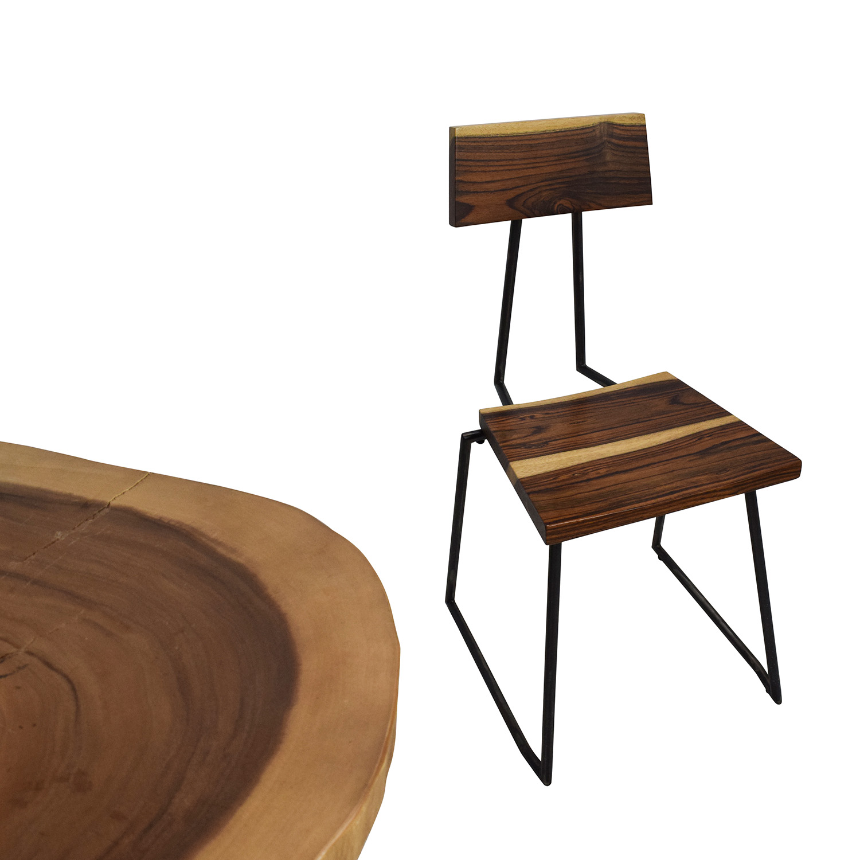 Rustic Wood Slab Table Set Brown