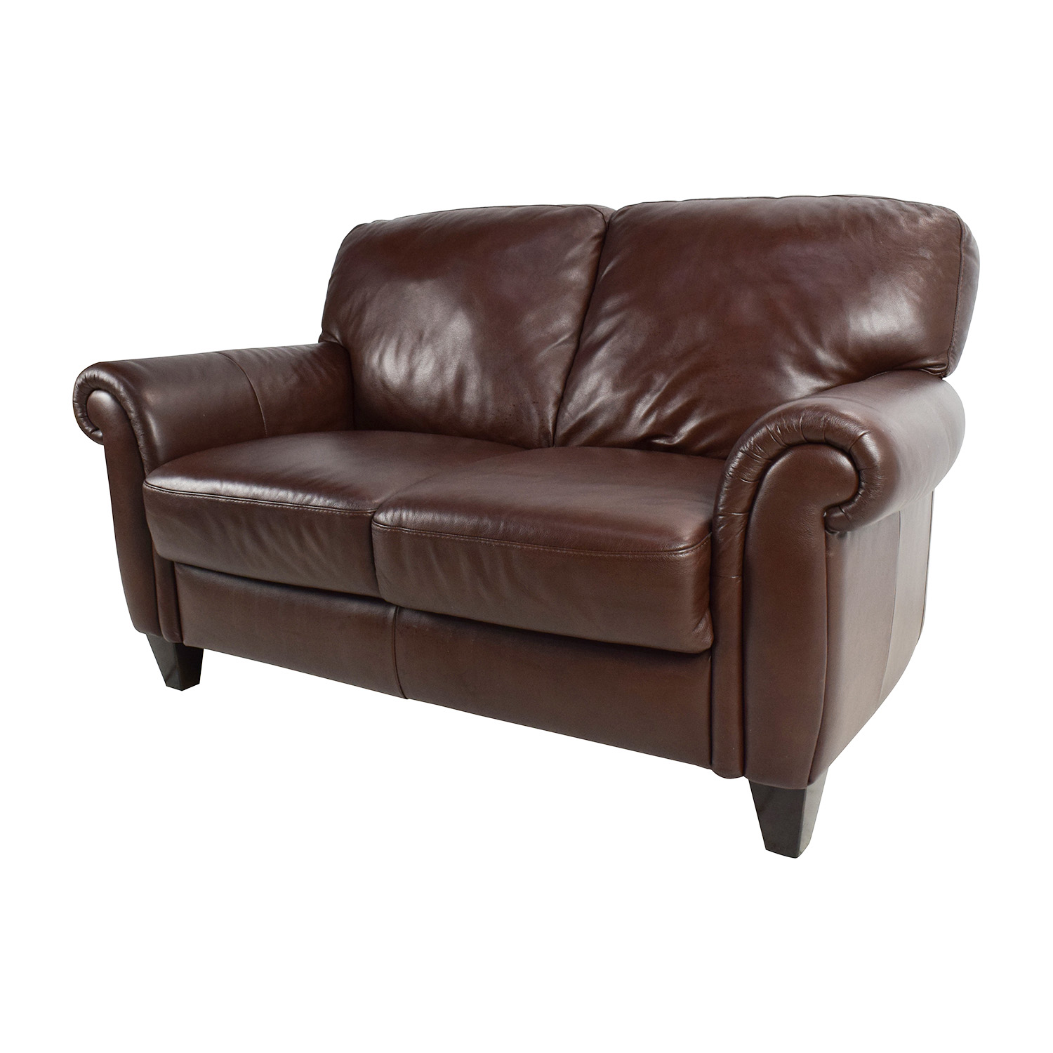 50 off brown roll arm leather loveseat sofas for Couch and loveseat