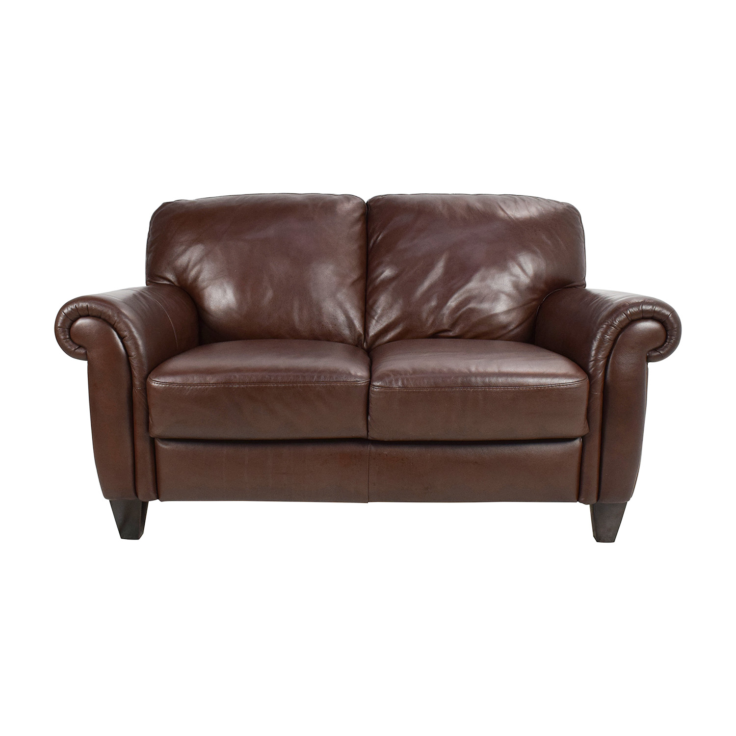 50 Off Brown Roll Arm Leather Loveseat Sofas