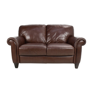 Brown Roll Arm Leather Loveseat dimensions