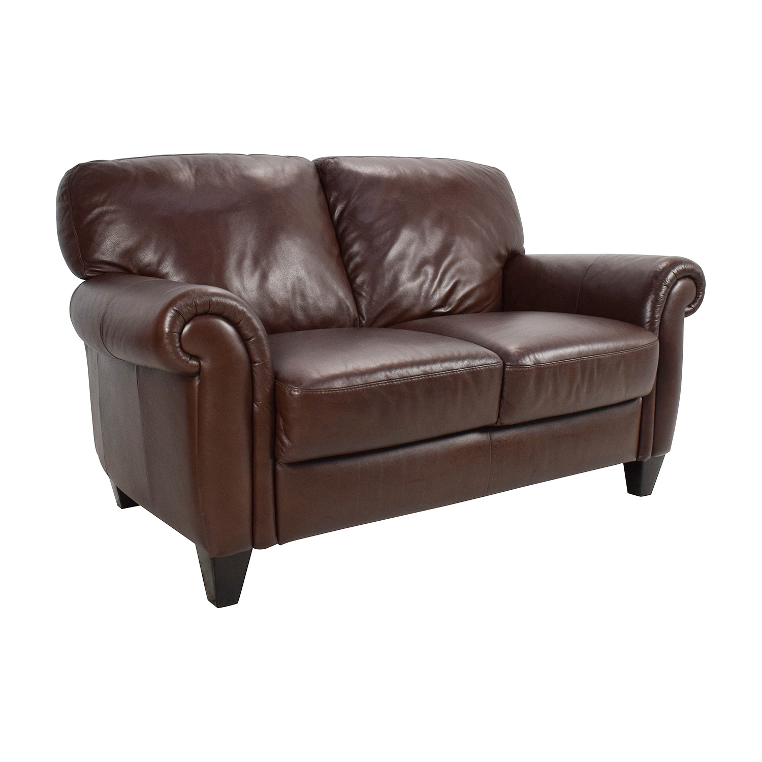 50 off brown roll arm leather loveseat sofas Couches and loveseats