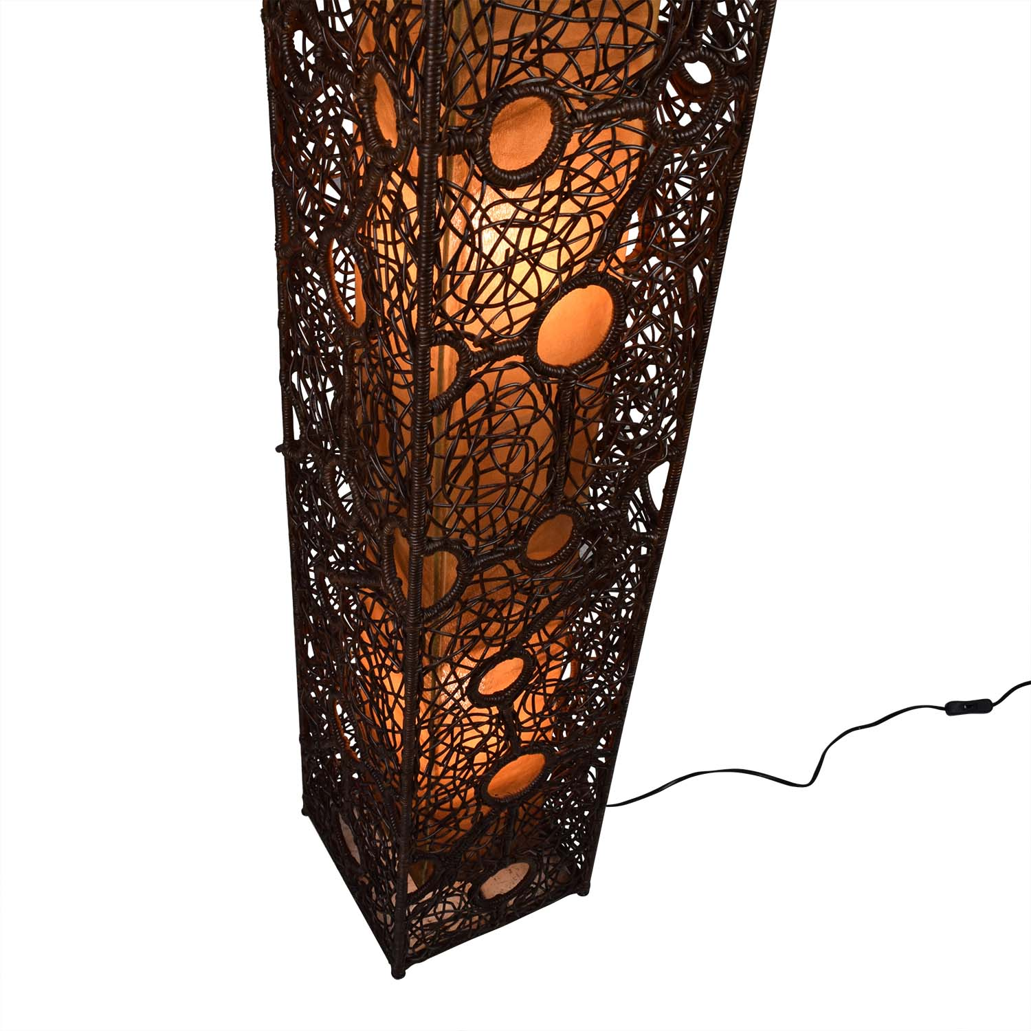 67 Off Brown Wicker Column Floor Lamp Decor