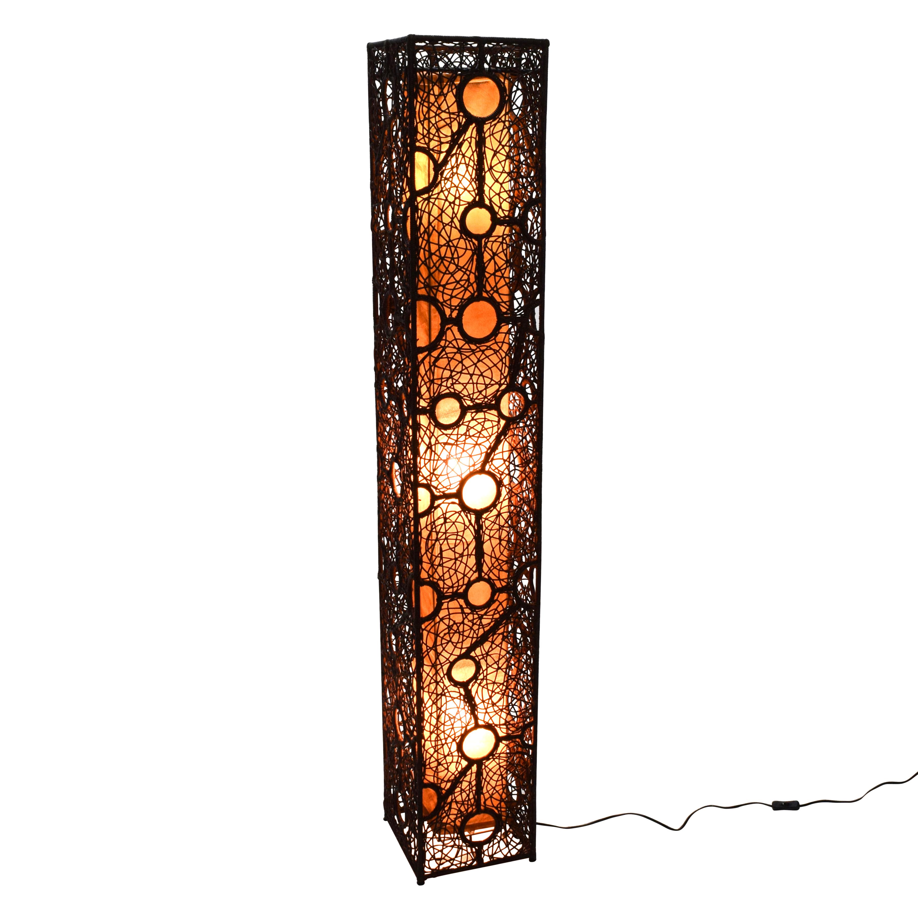 67 Off Brown Wicker Column Floor Lamp Decor