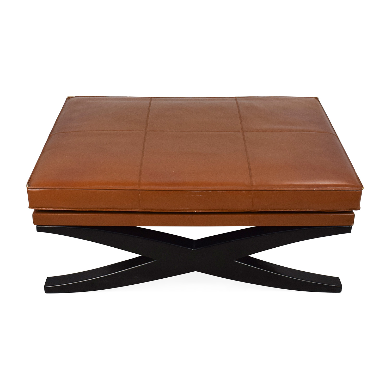 Large Klismos Leather and Wood Ottoman coupon