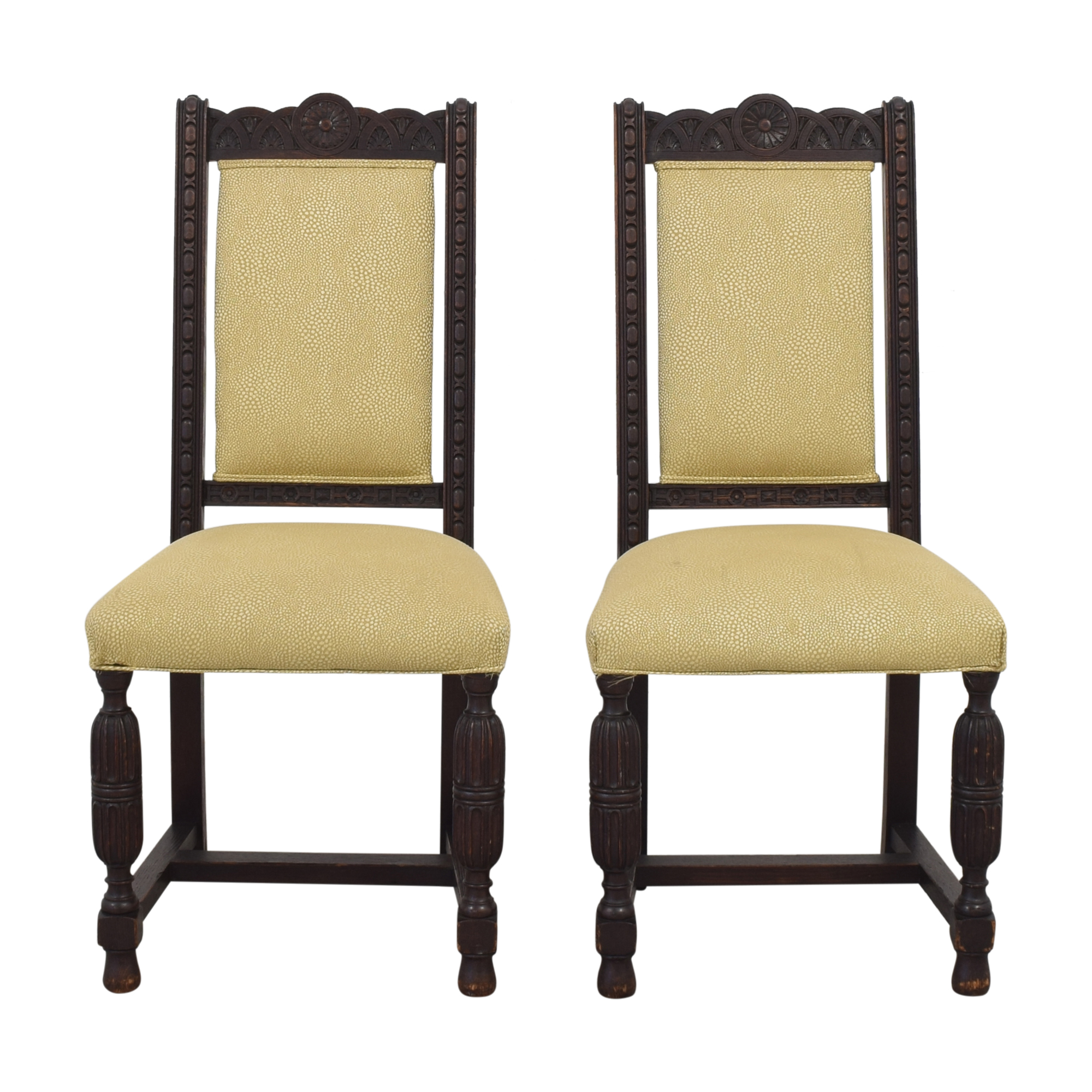 Vintage H. Lauzon Dining Chairs brown & beige