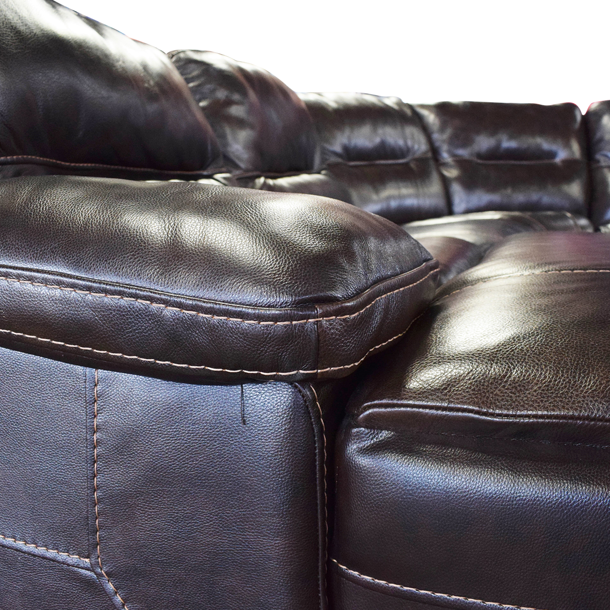 Curved Reclining Sectional Sofa dark brown