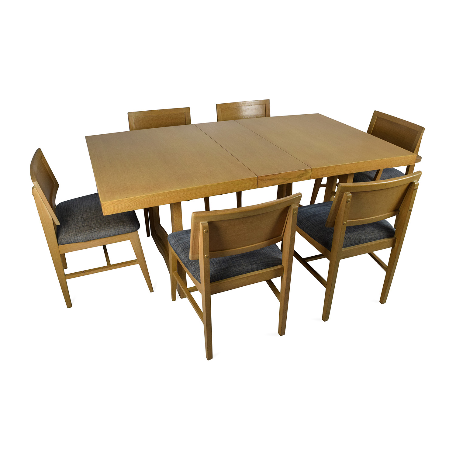 59 off mid century extension dining table and six for Six chair dining table set