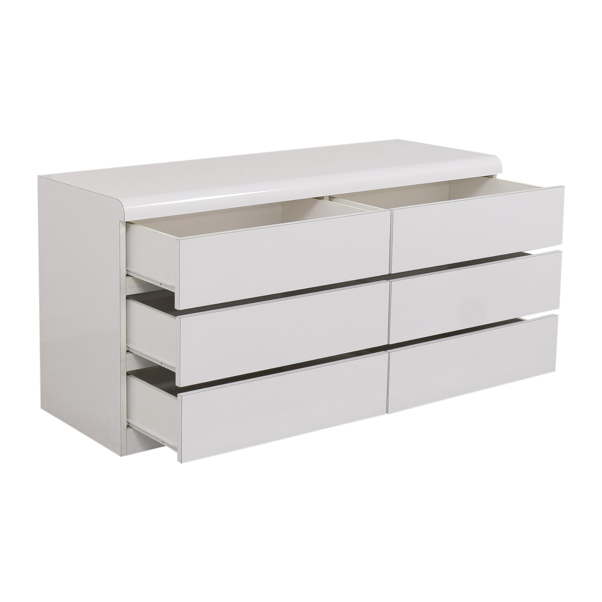 Modern Six Drawer Double Dresser