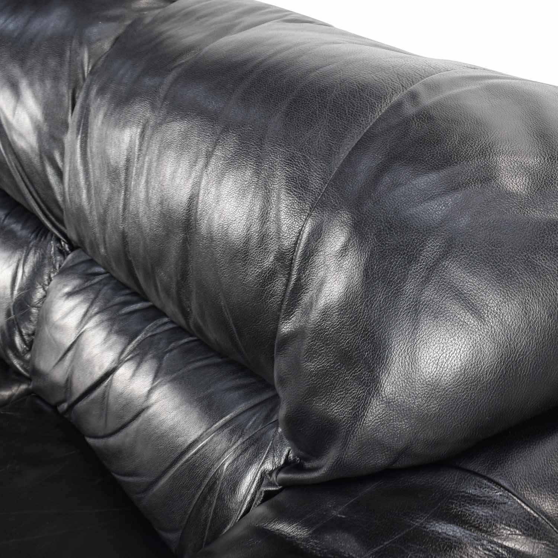 79% OFF - Natuzzi Natuzzi Italian Black Leather Sofa / Sofas