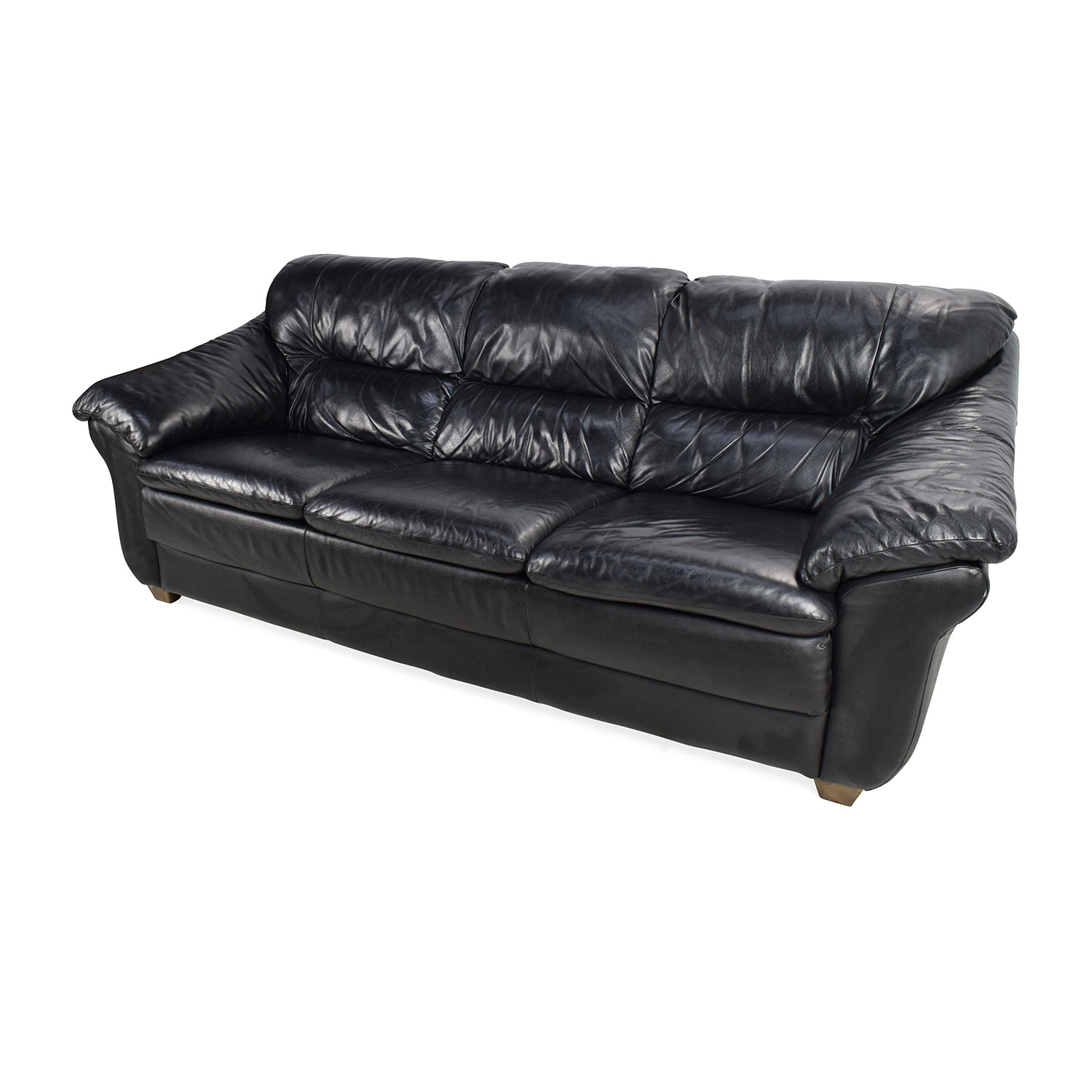 79% OFF - Natuzzi Natuzzi Italian Black Leather Sofa / Sofas