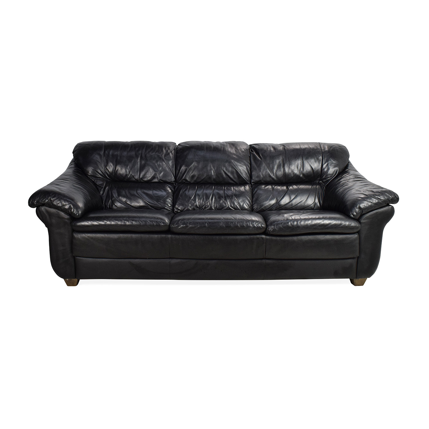 Natuzzi Italian Black Leather Sofa