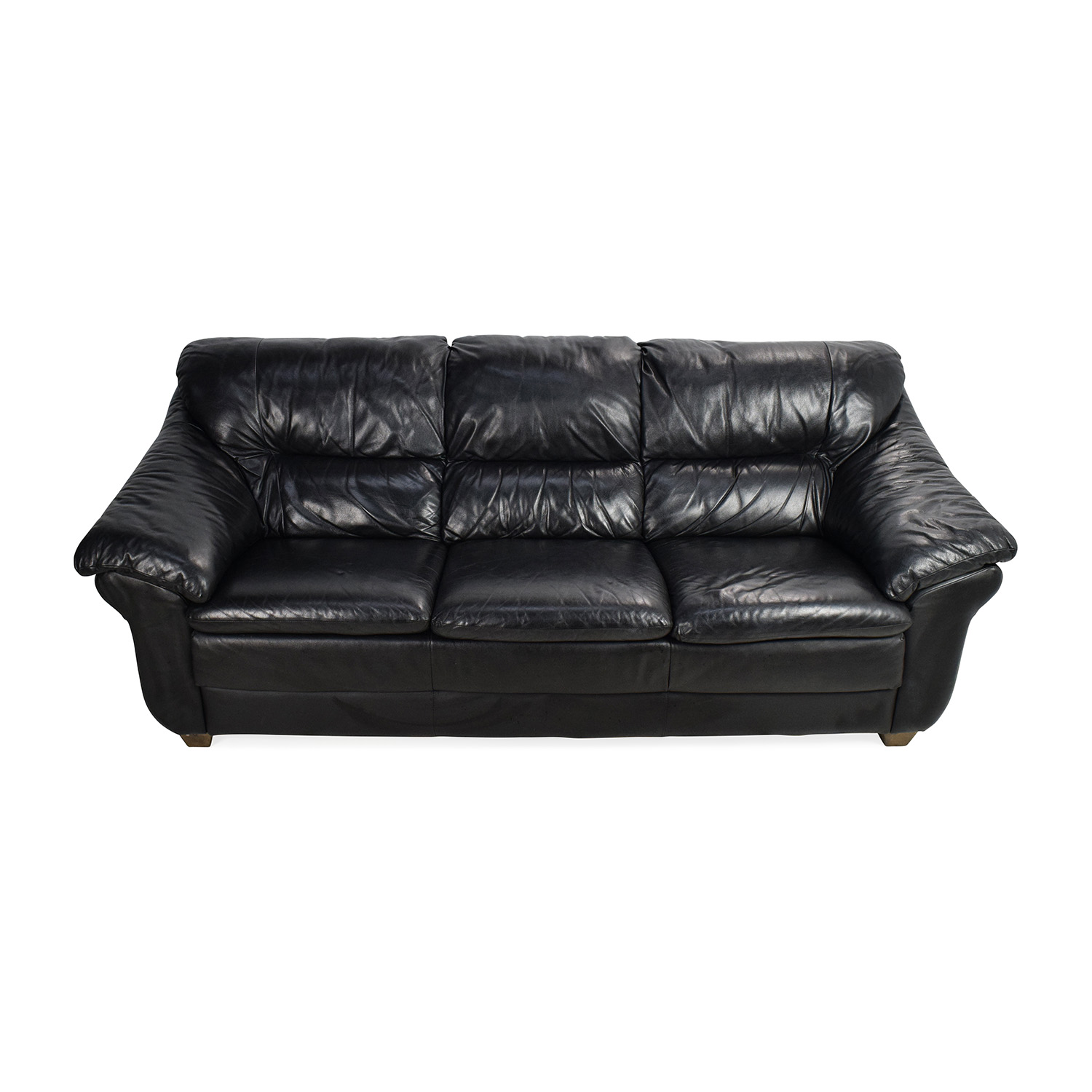 Natuzzi Italian Black Leather Sofa Second Hand