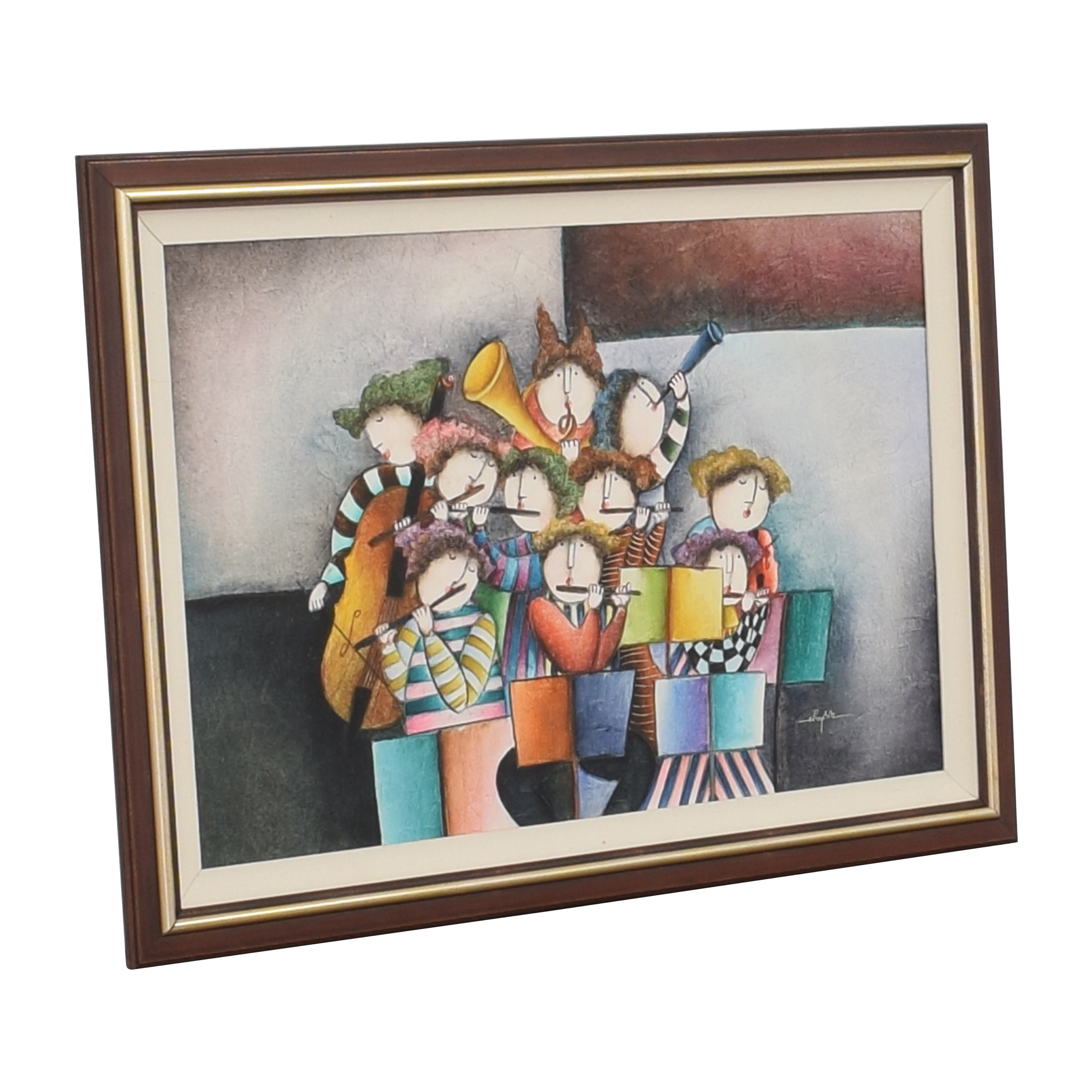 Musical Musicians Playing Instruments Framed Wall Art dimensions