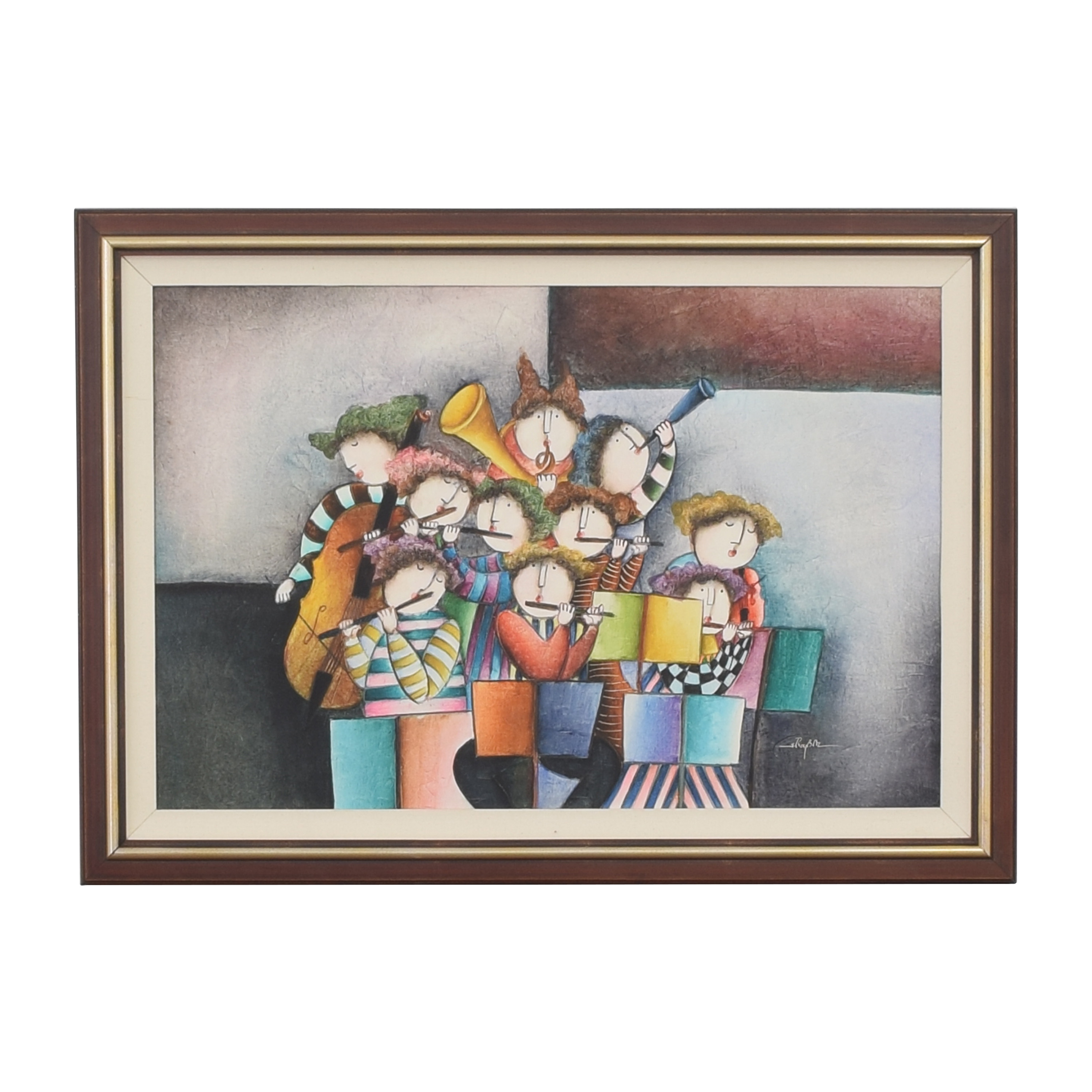 Musical Musicians Playing Instruments Framed Wall Art second hand