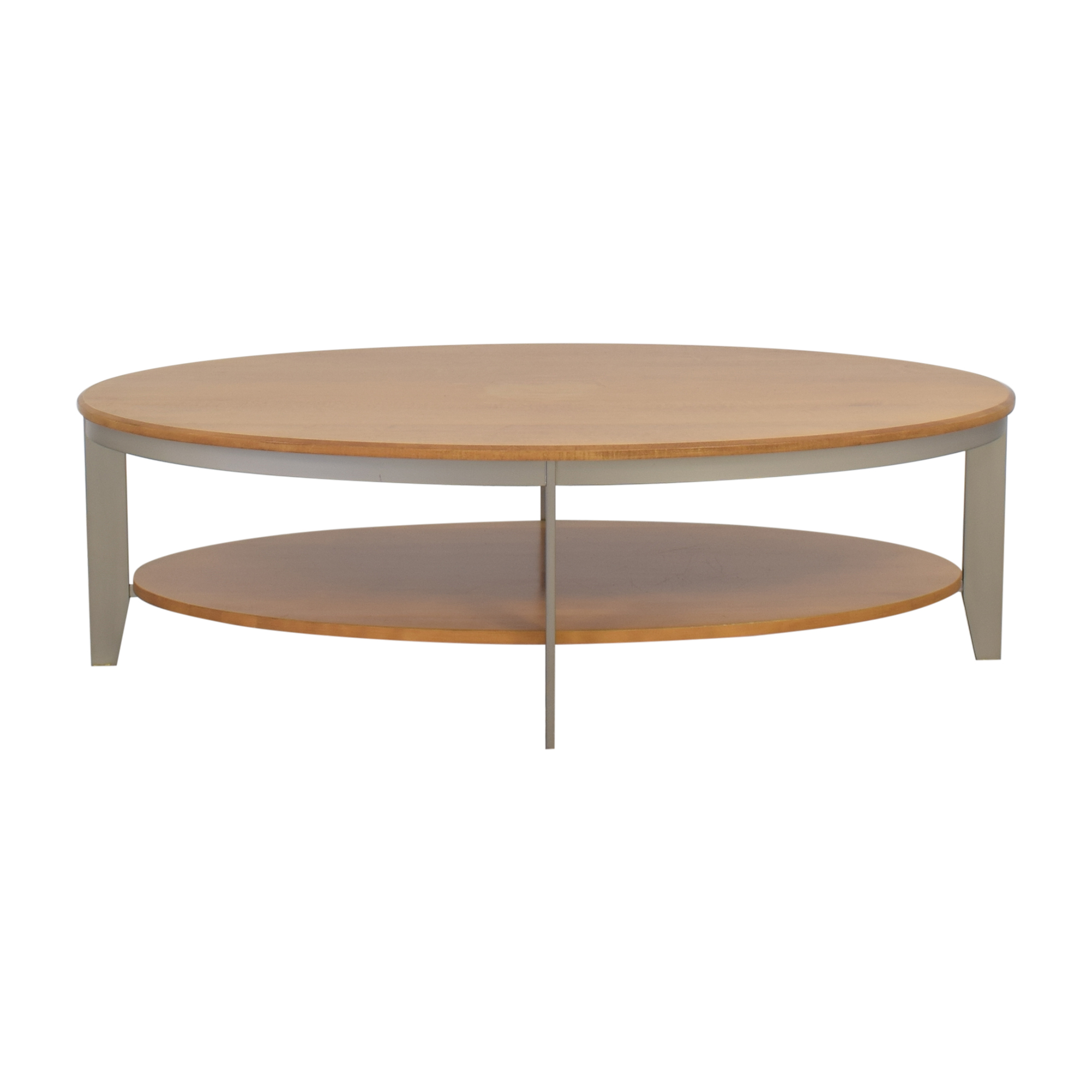 Oval Coffee Table with Shelf Tables