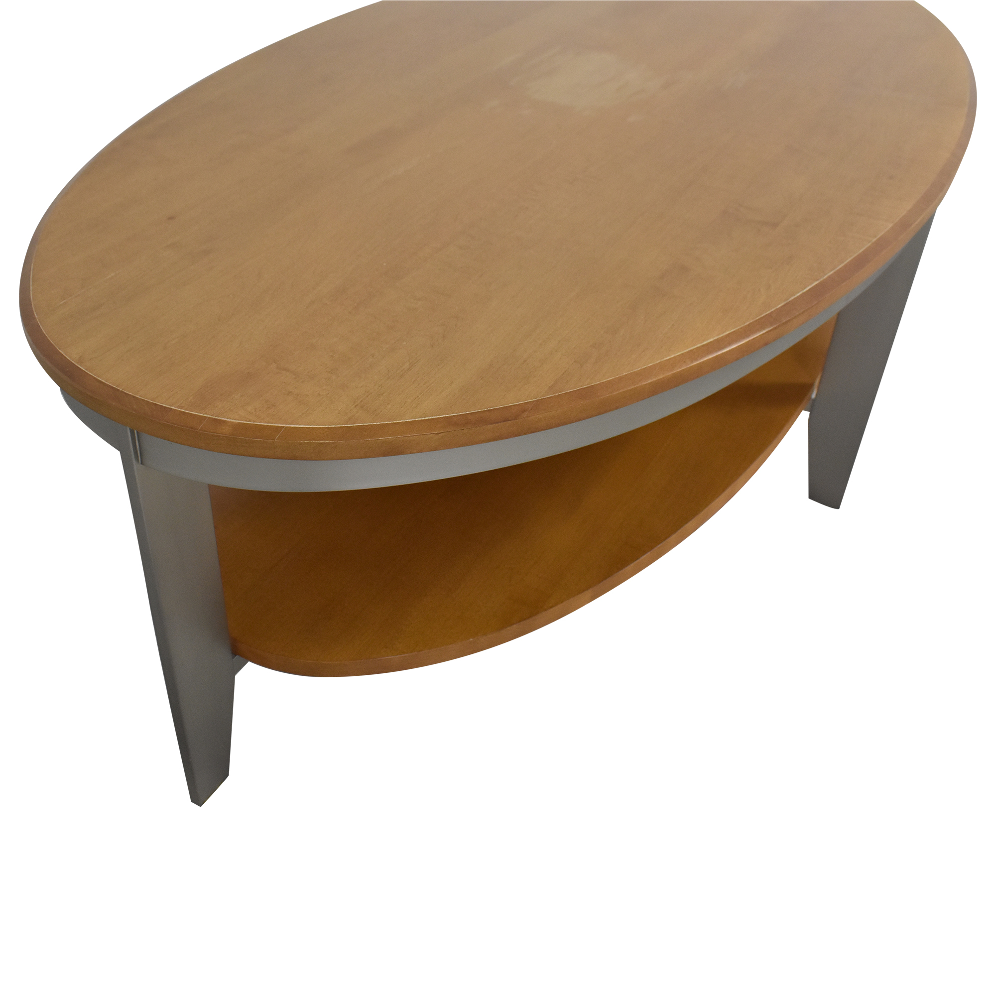Oval Coffee Table with Shelf used