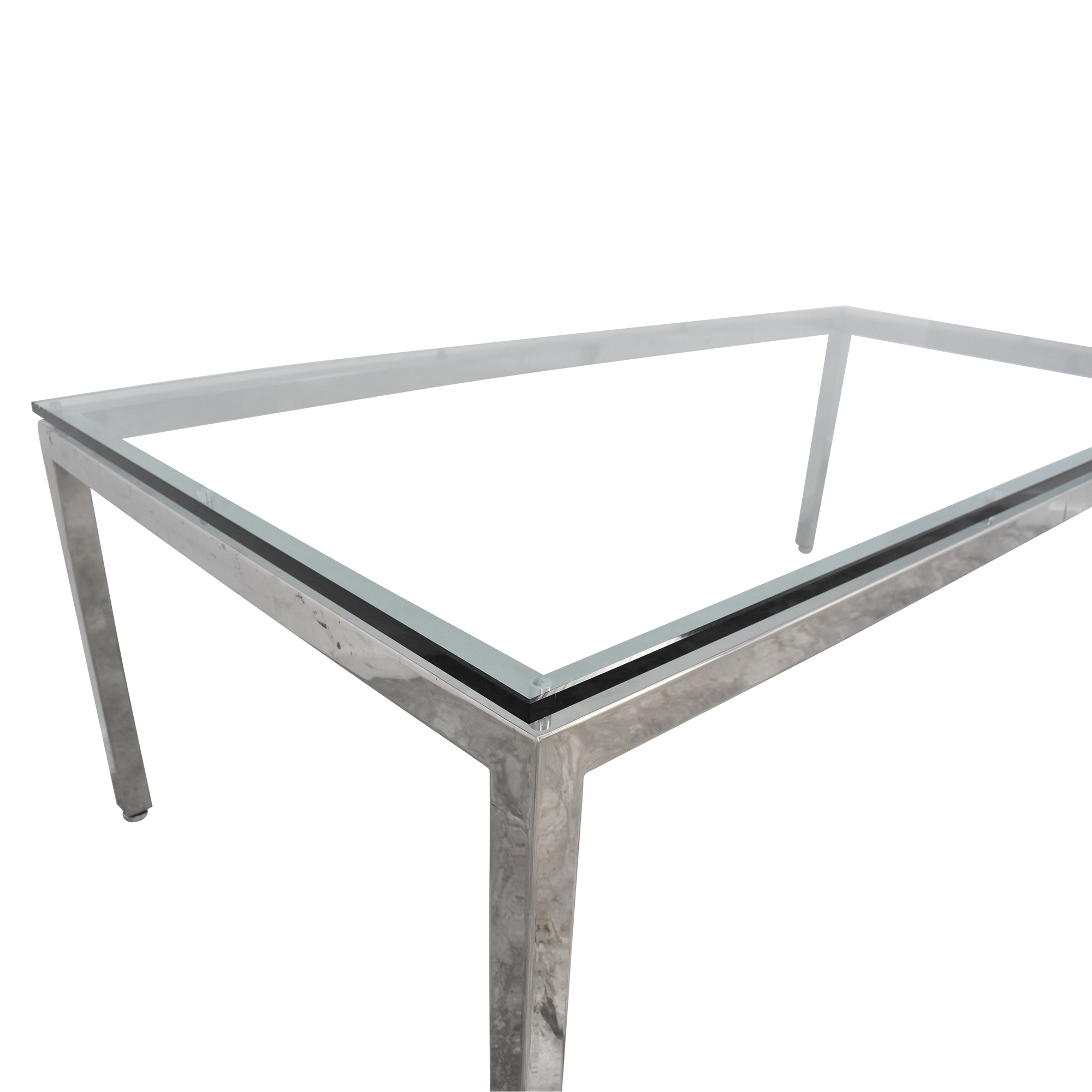 Mid Century Dining Table with Transparent Surface Dinner Tables