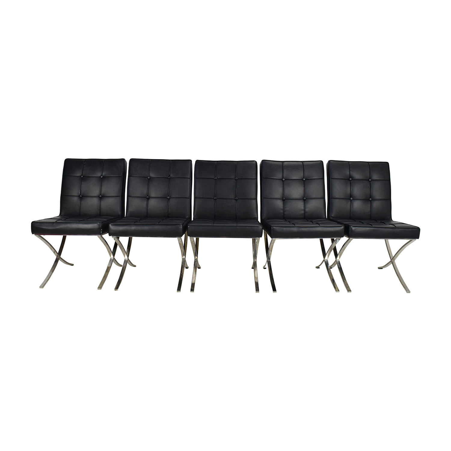 Black Leather Conference Room Chair Set sale