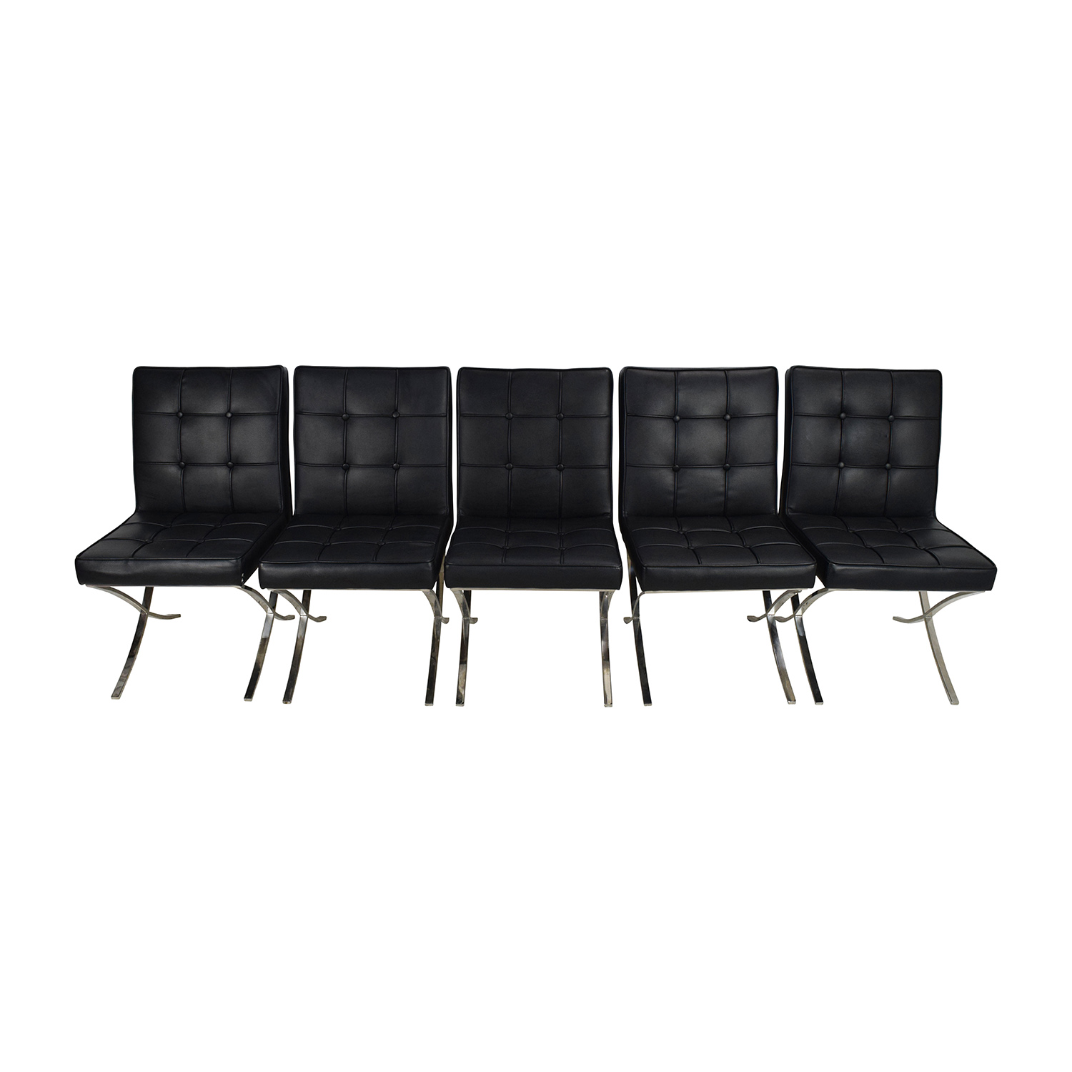 Black Leather Conference Room Chair Set