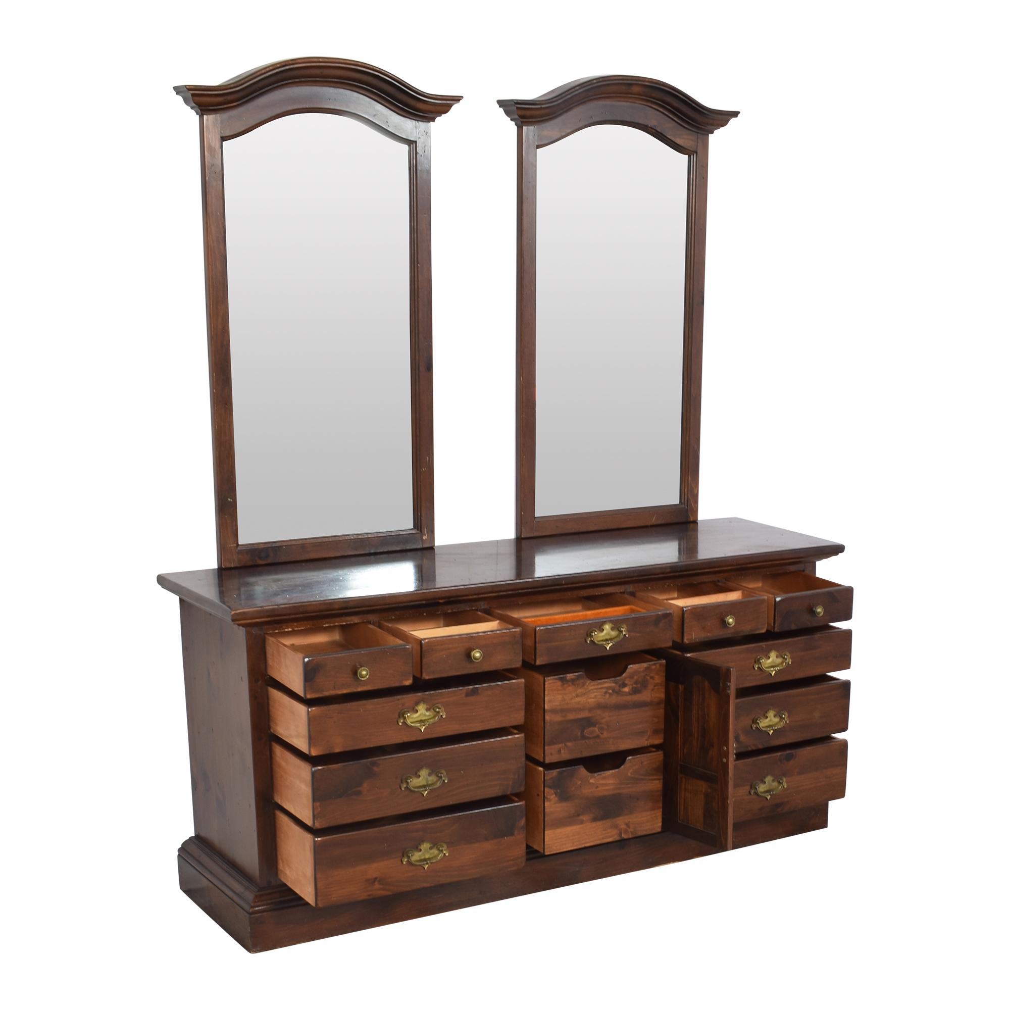 buy Ethan Allen Ethan Allen Old Tavern Triple Door Dresser with Twin Mirrors online