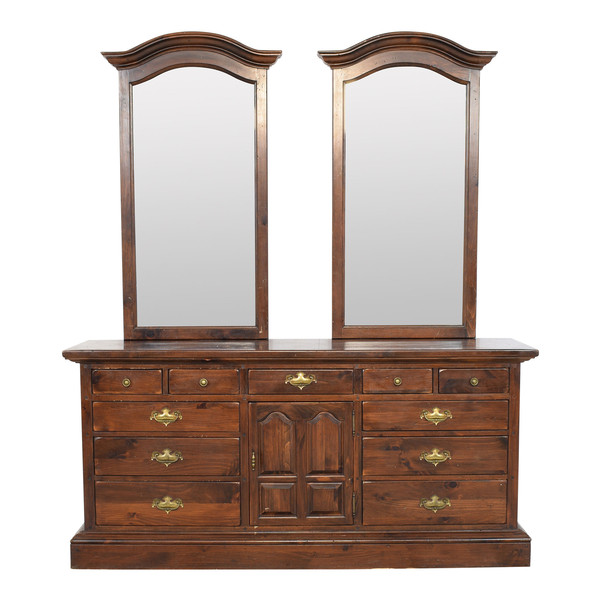 shop Ethan Allen Old Tavern Triple Door Dresser with Twin Mirrors Ethan Allen Storage