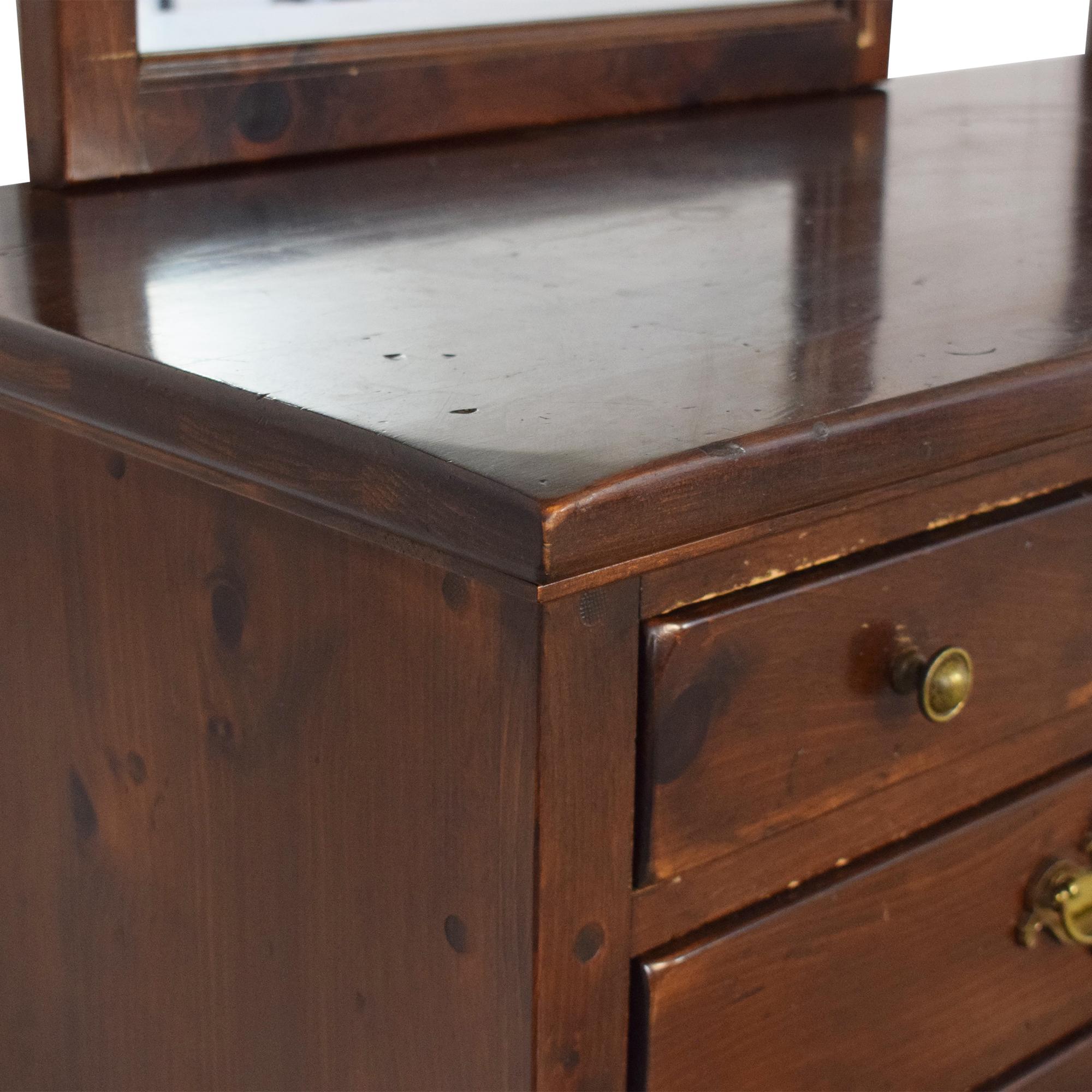 Ethan Allen Old Tavern Triple Door Dresser with Twin Mirrors sale