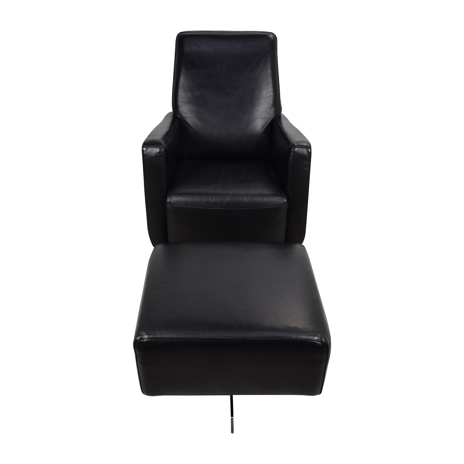 Natuzzi Black Leather Swivel Chair with Ottoman / Sofas