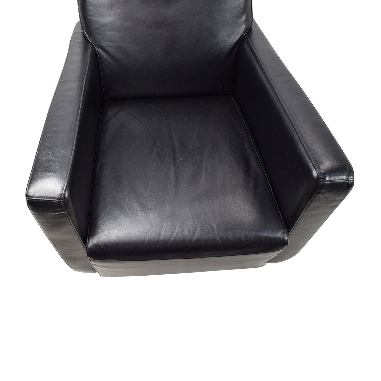 90% OFF Natuzzi Natuzzi Black Leather Swivel Chair with Ottoman