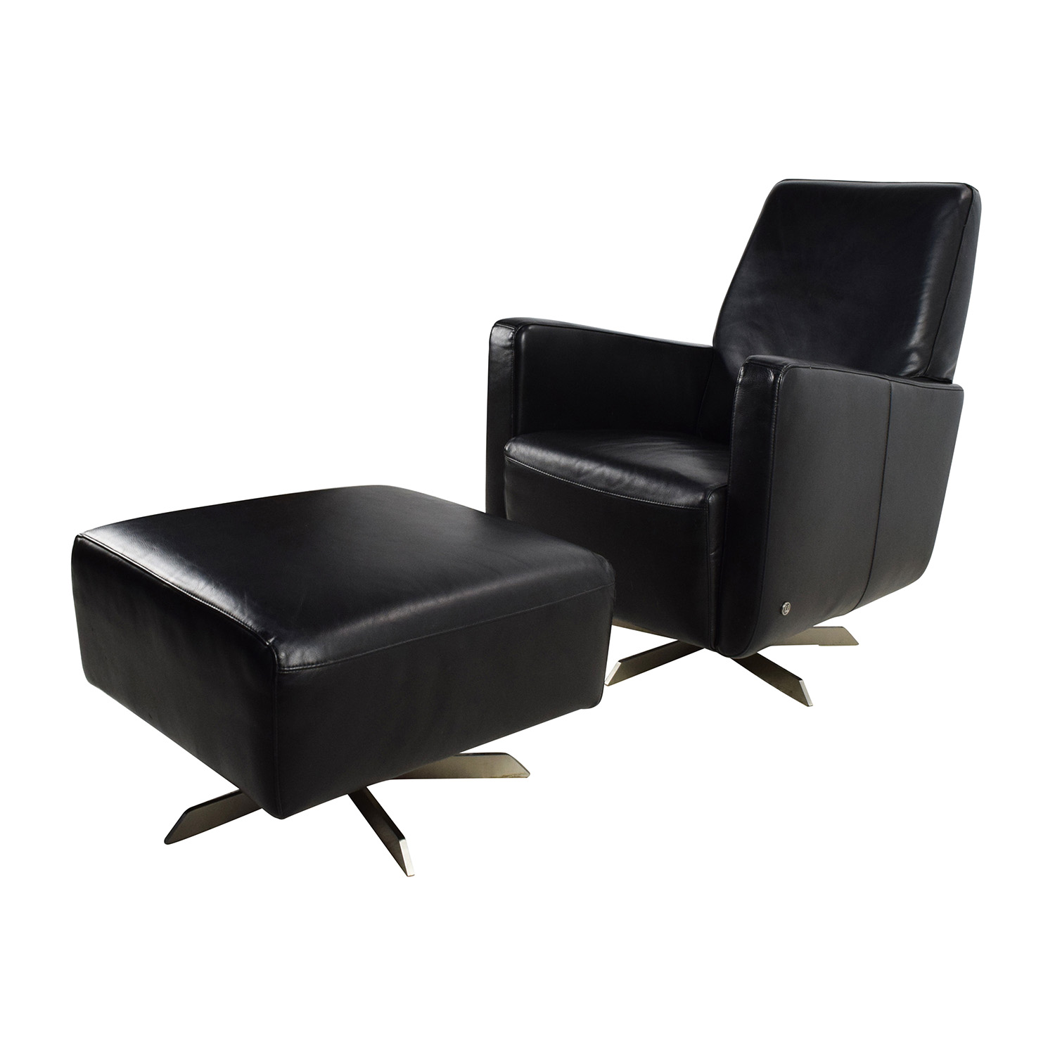 Black ottoman chair -  Shop Natuzzi Black Leather Swivel Chair With Ottoman Natuzzi