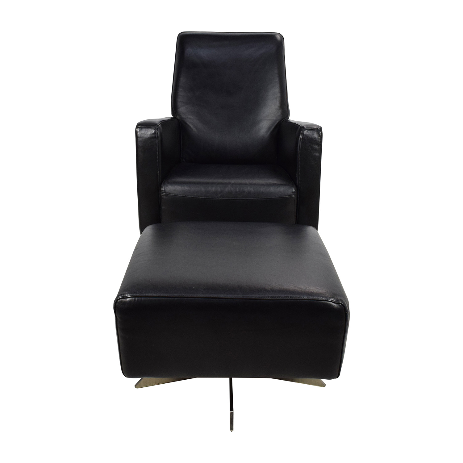 Natuzzi Natuzzi Black Leather Swivel Chair with Ottoman dimensions