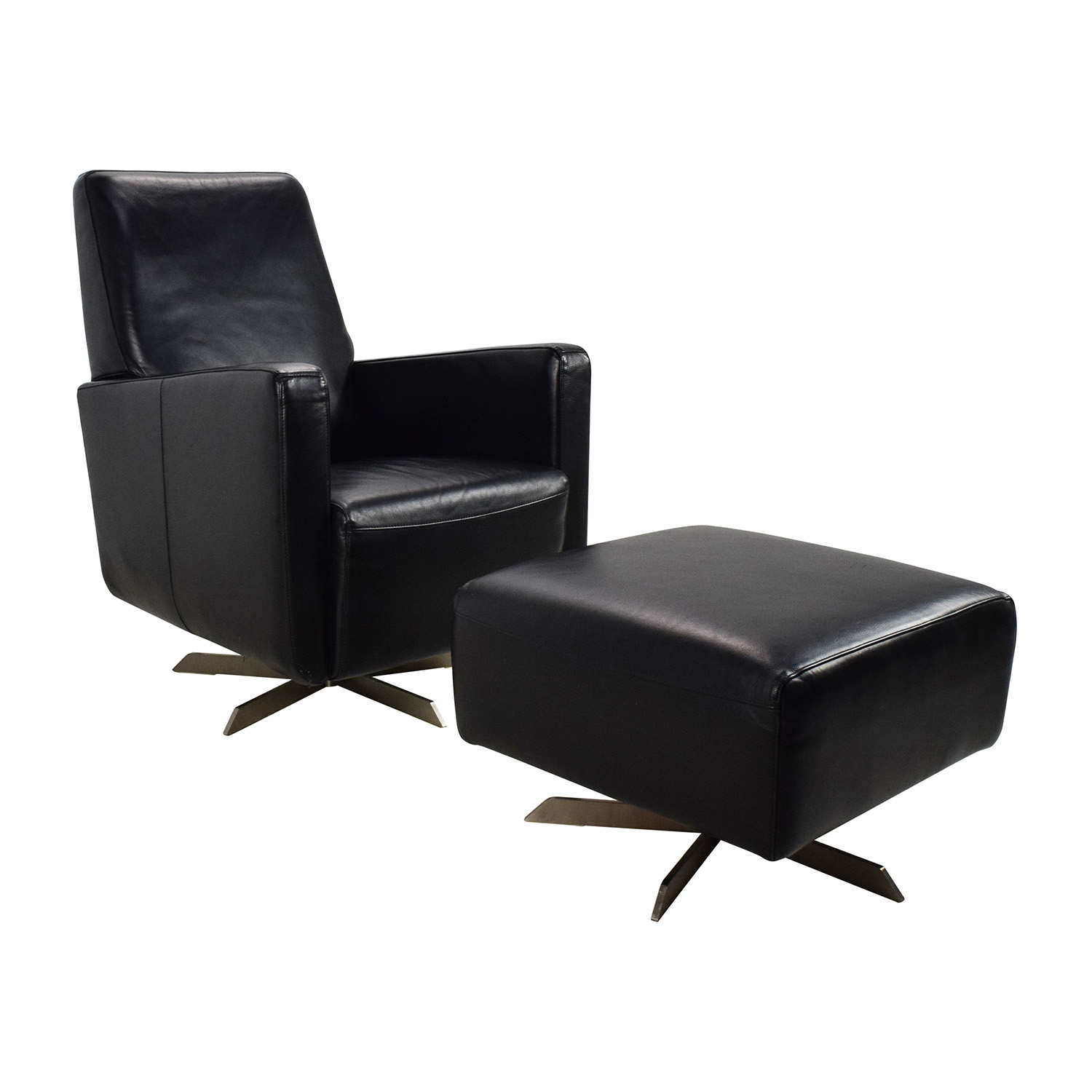 90% OFF Natuzzi Natuzzi Black Leather Swivel Chair with Ottoman